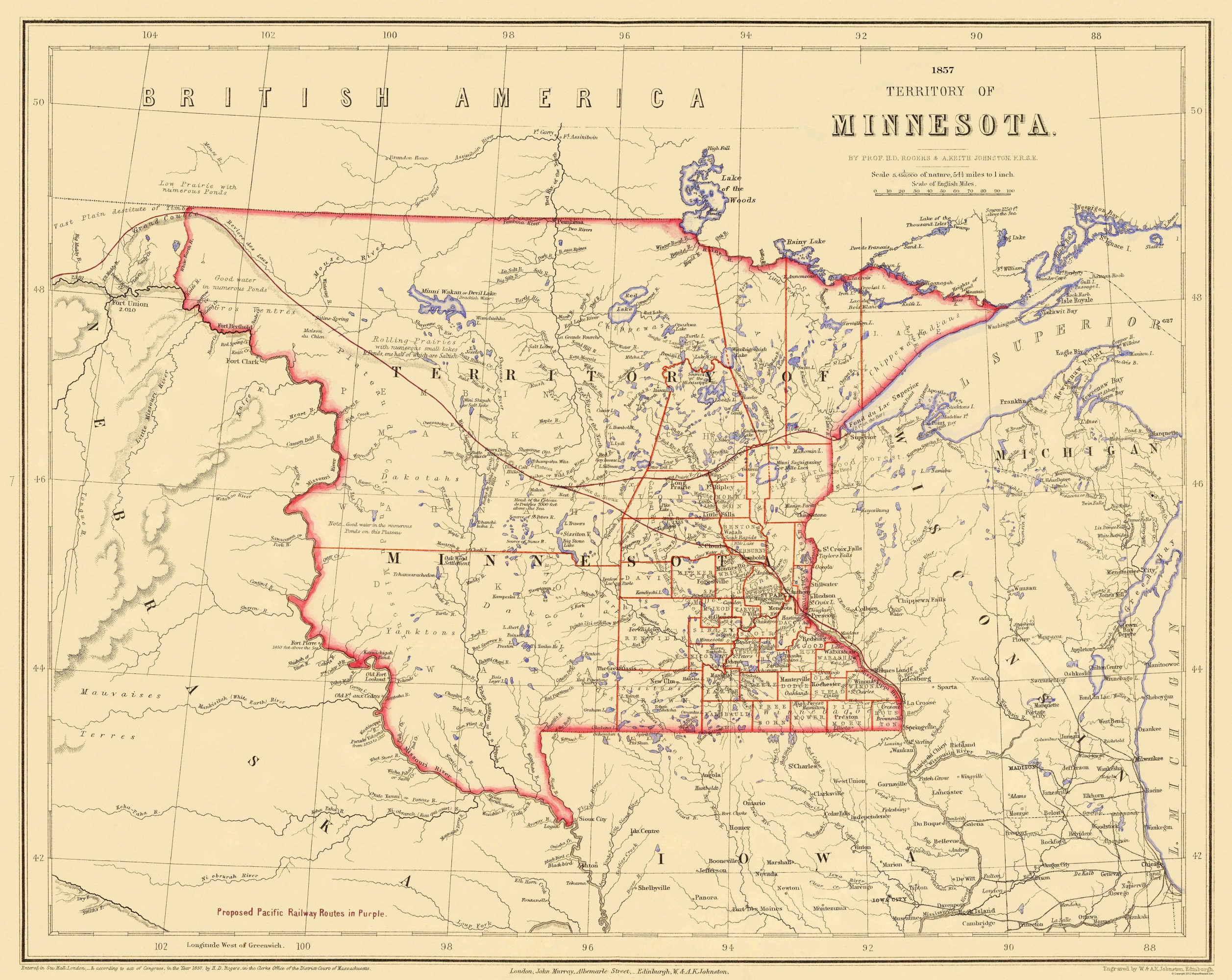 Old State Map - Minnesota Territory - Rogers 1857
