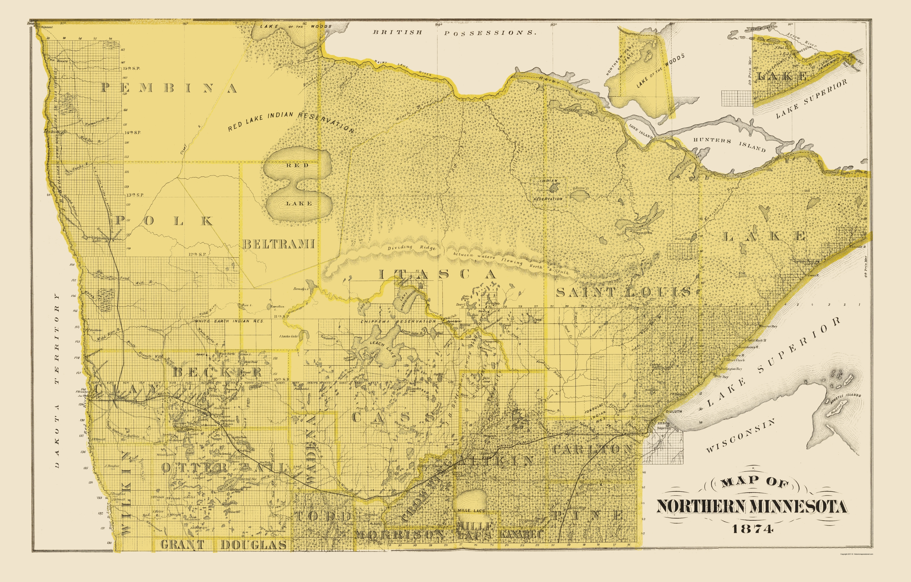 Old State Map - Northern Minnesota - Andreas 1874 - 23 x 36.00