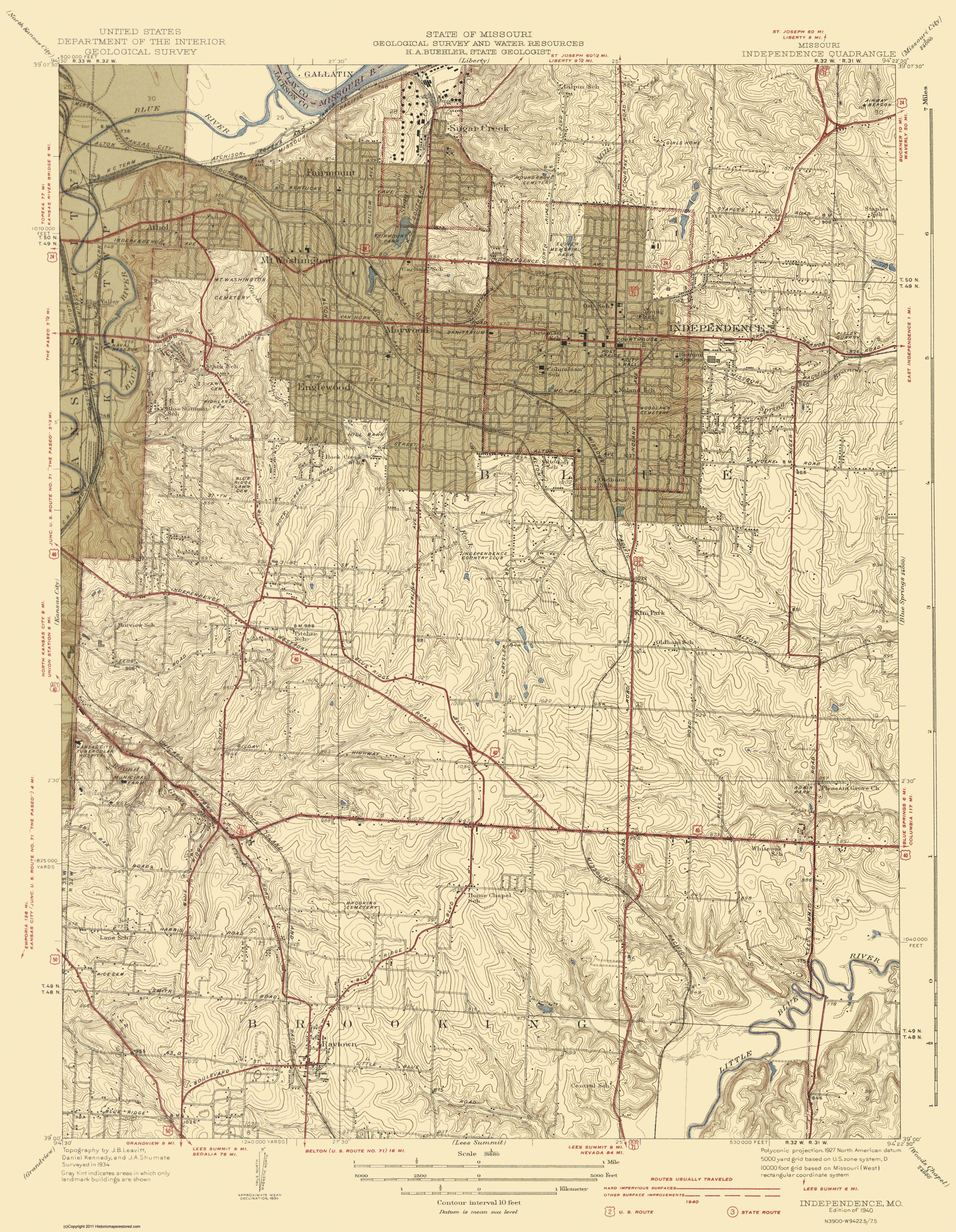 Old Topographical Map Independence Missouri 1940