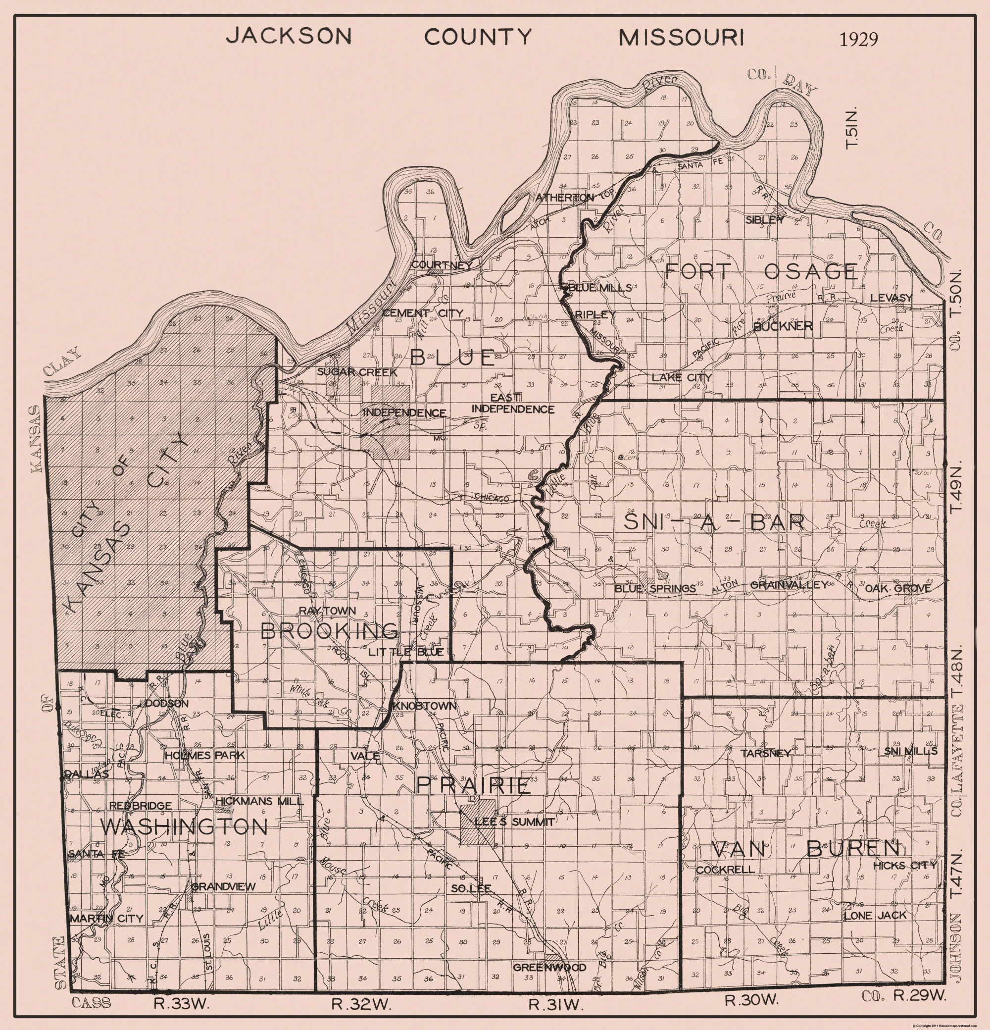Old County Map Jackson Missouri 1929
