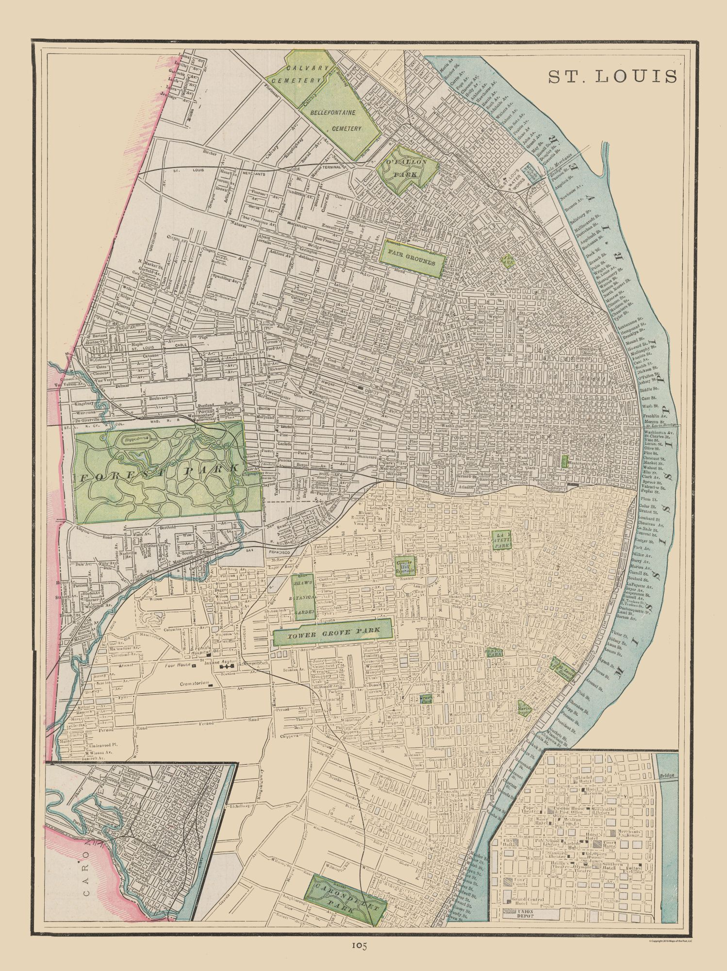 Historic City Maps | St Louis Missouri - Cram 1892 - 23 x 30.71