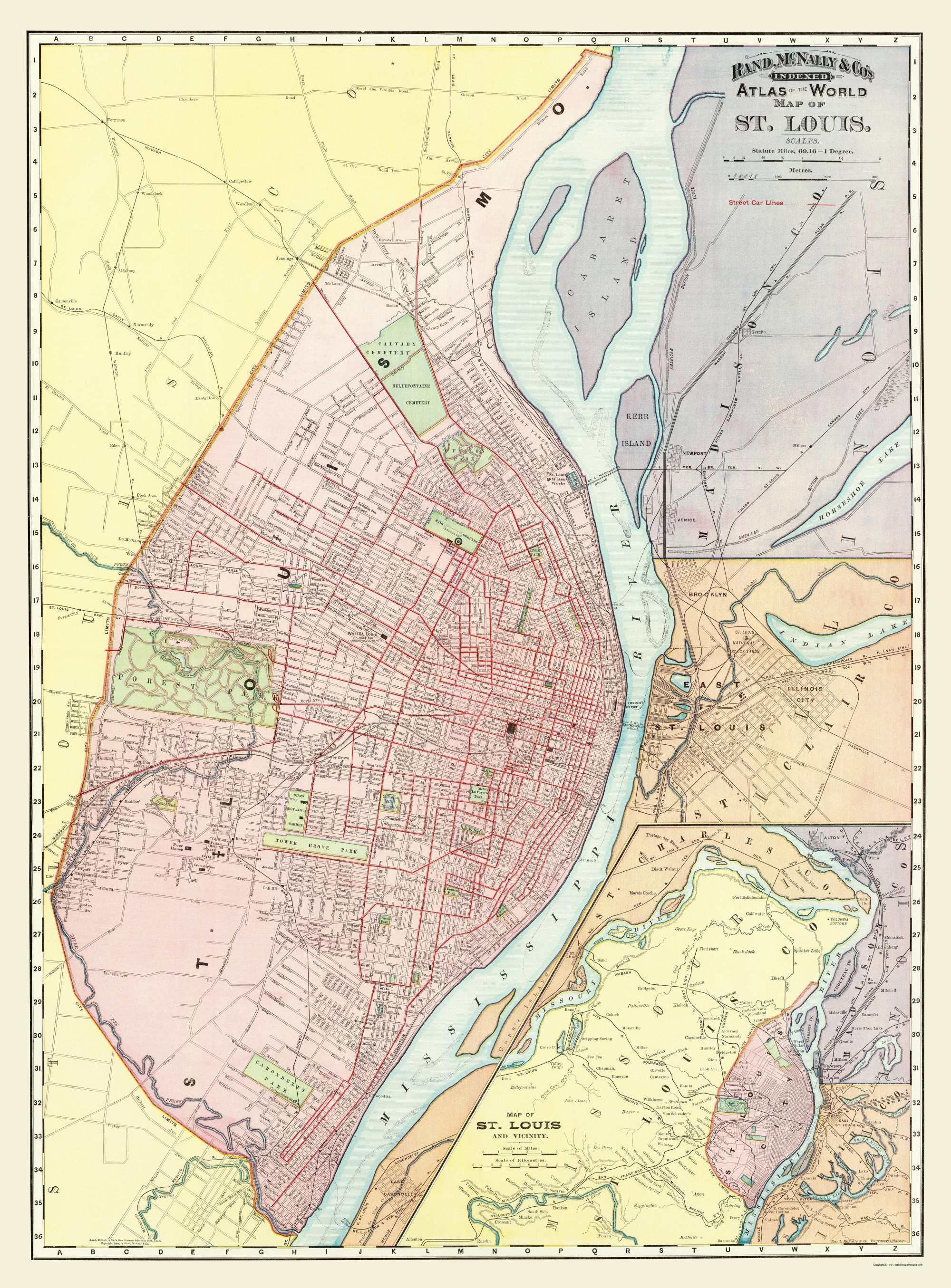 Old Map - St. Louis Missouri, Illinois with Illinois 1907