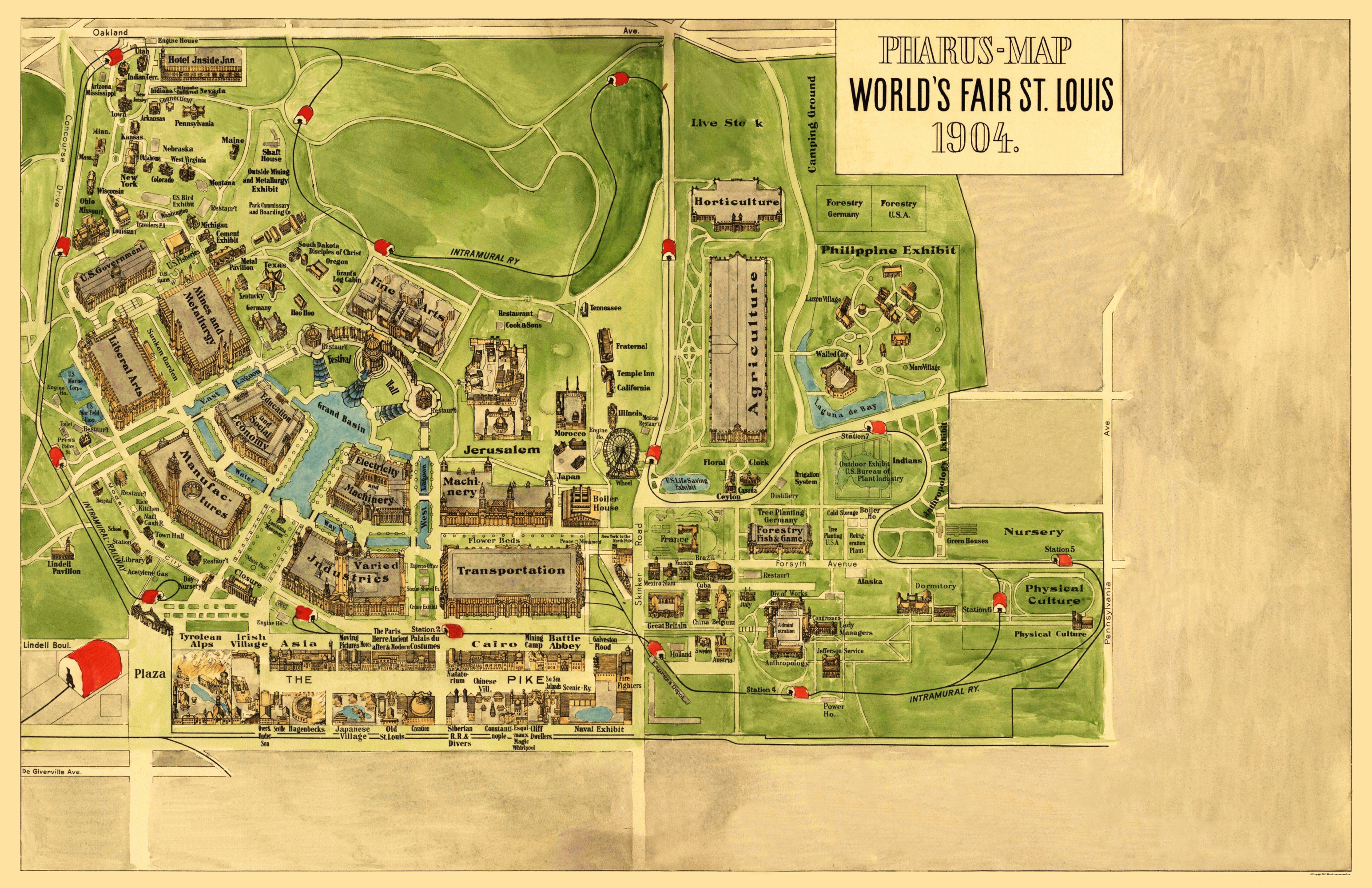 Old City Map St Louis Missouri Worlds Fair - Us map st louis mo