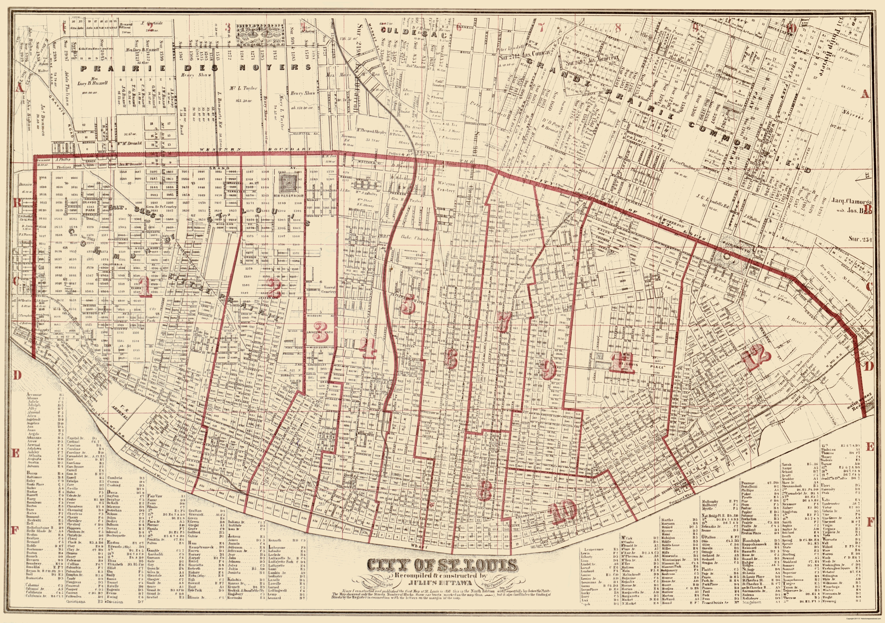 Old City Map - St. Louis Missouri - Hutawa 1870