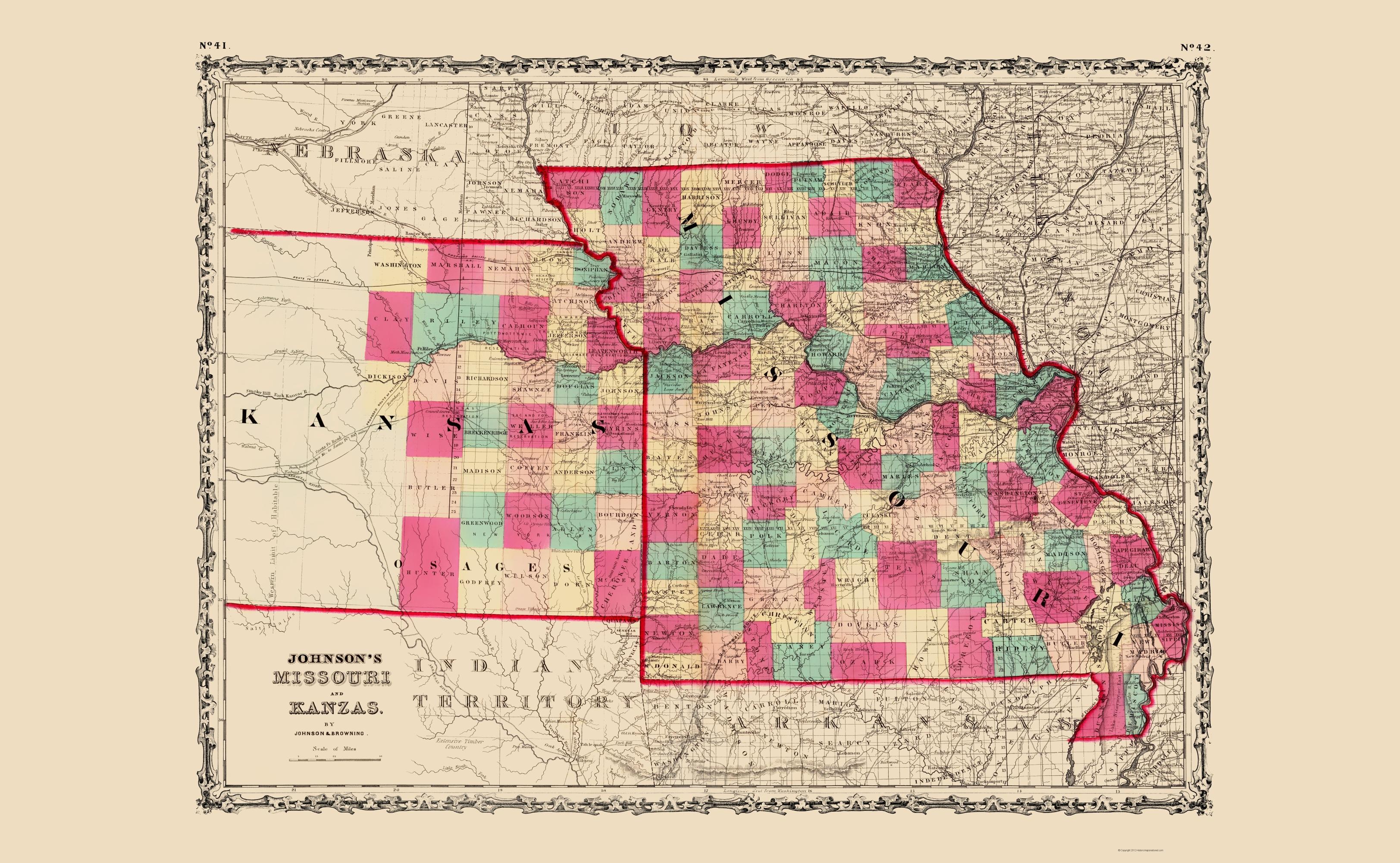 Old State Map Missouri Kansas Johnson 1860