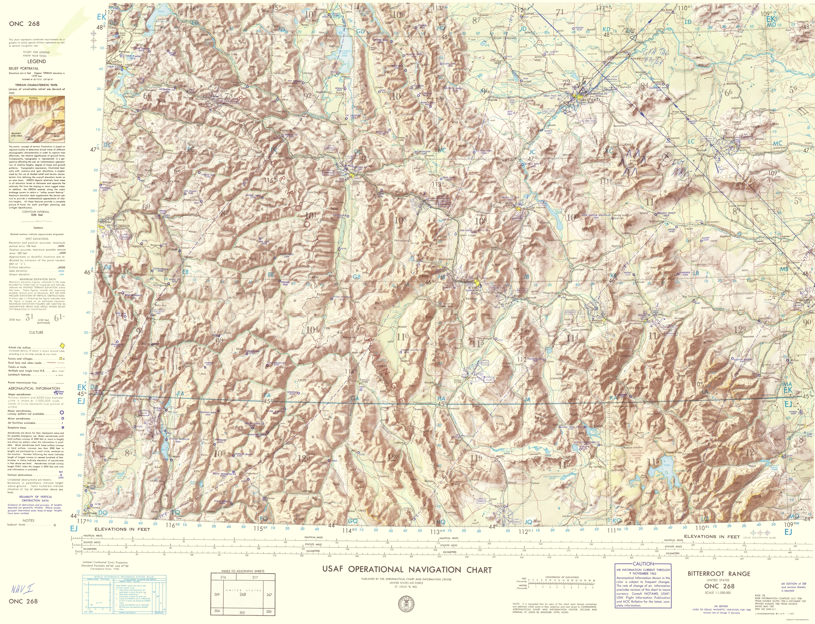 Topographical Map Bitterroot Range Montana Wyoming 1962