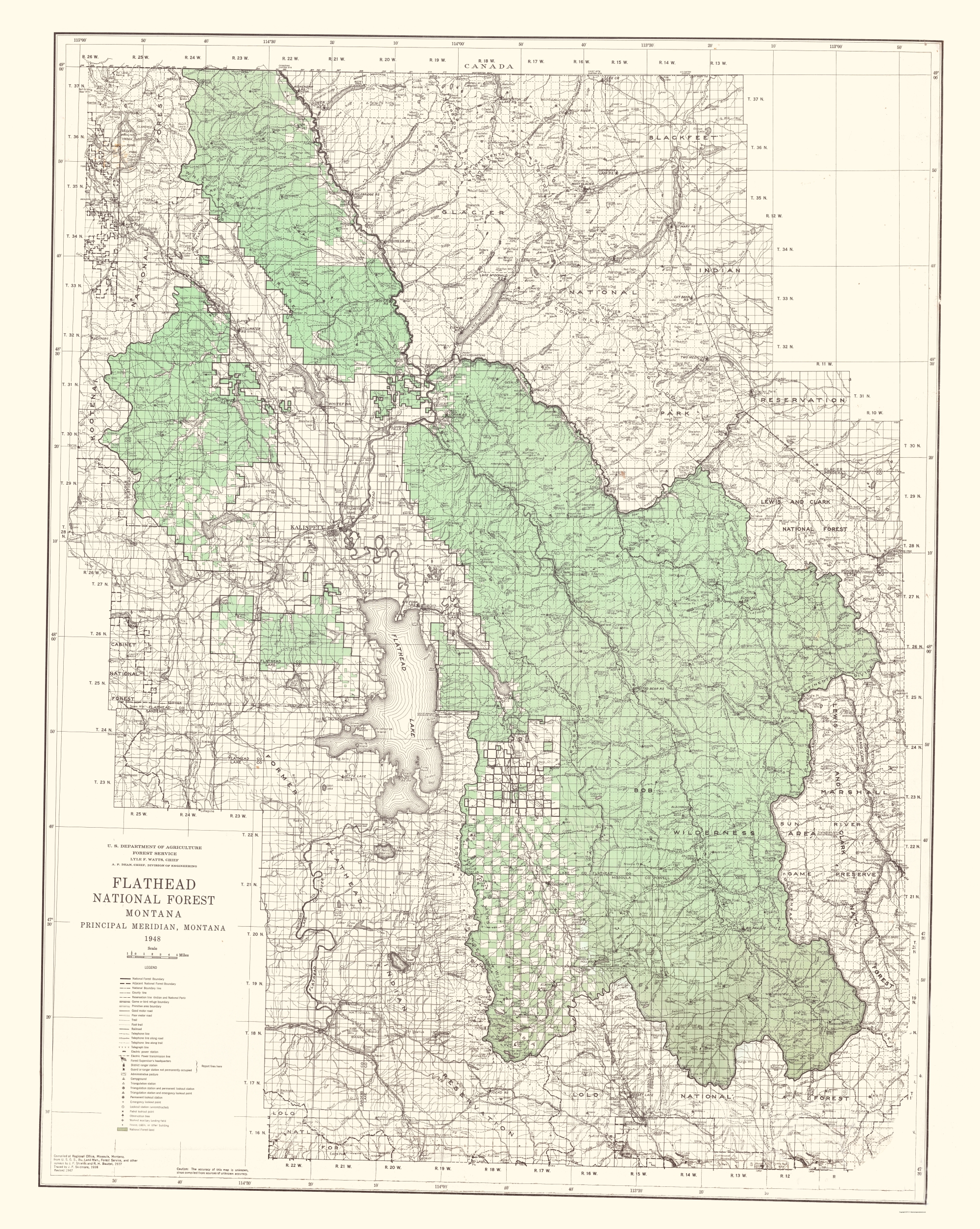 Topographical Map Flathead National Forest Montana - Montana topo map