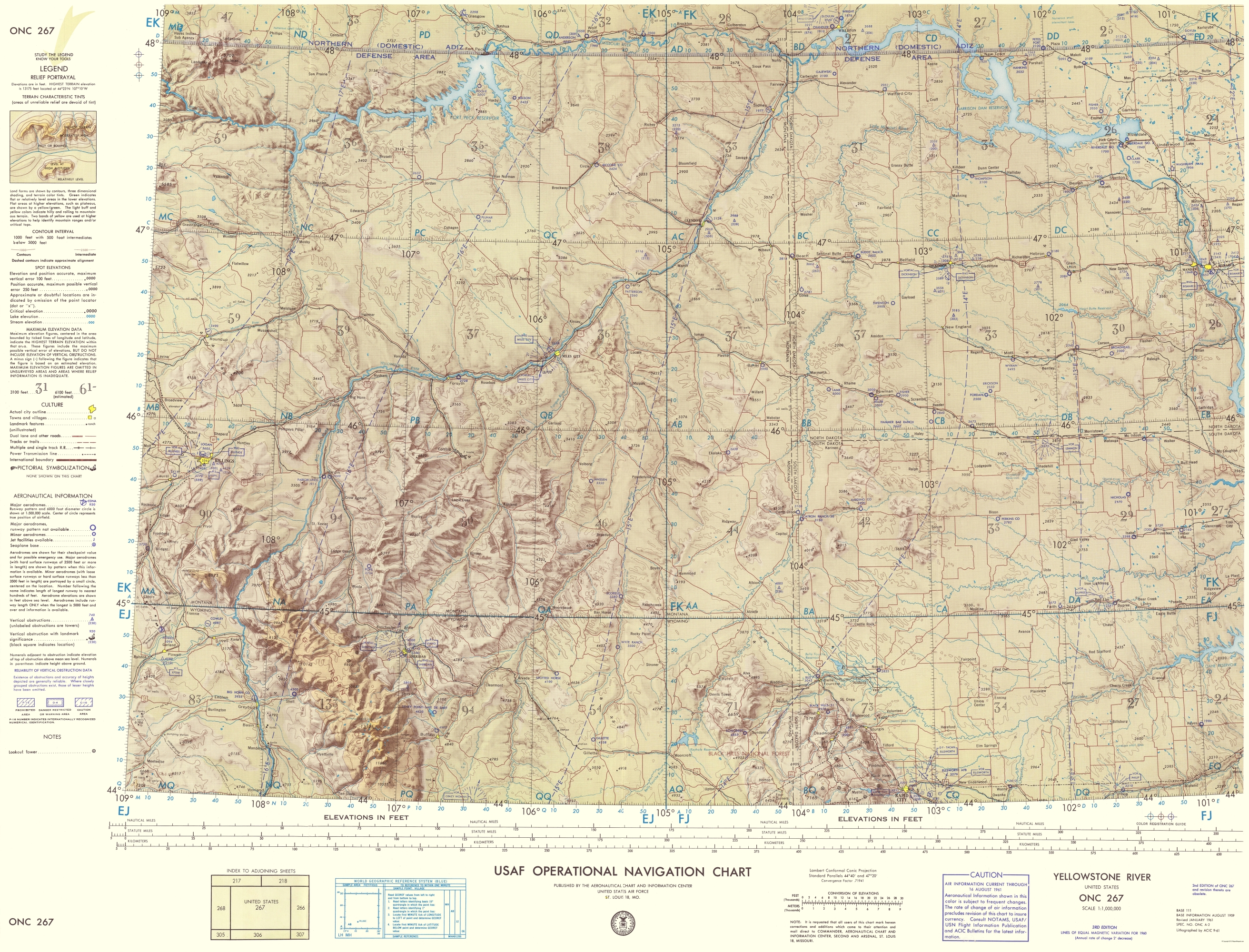 Topographic Map Of Yellowstone.Topographical Map Yellowstone River 1961