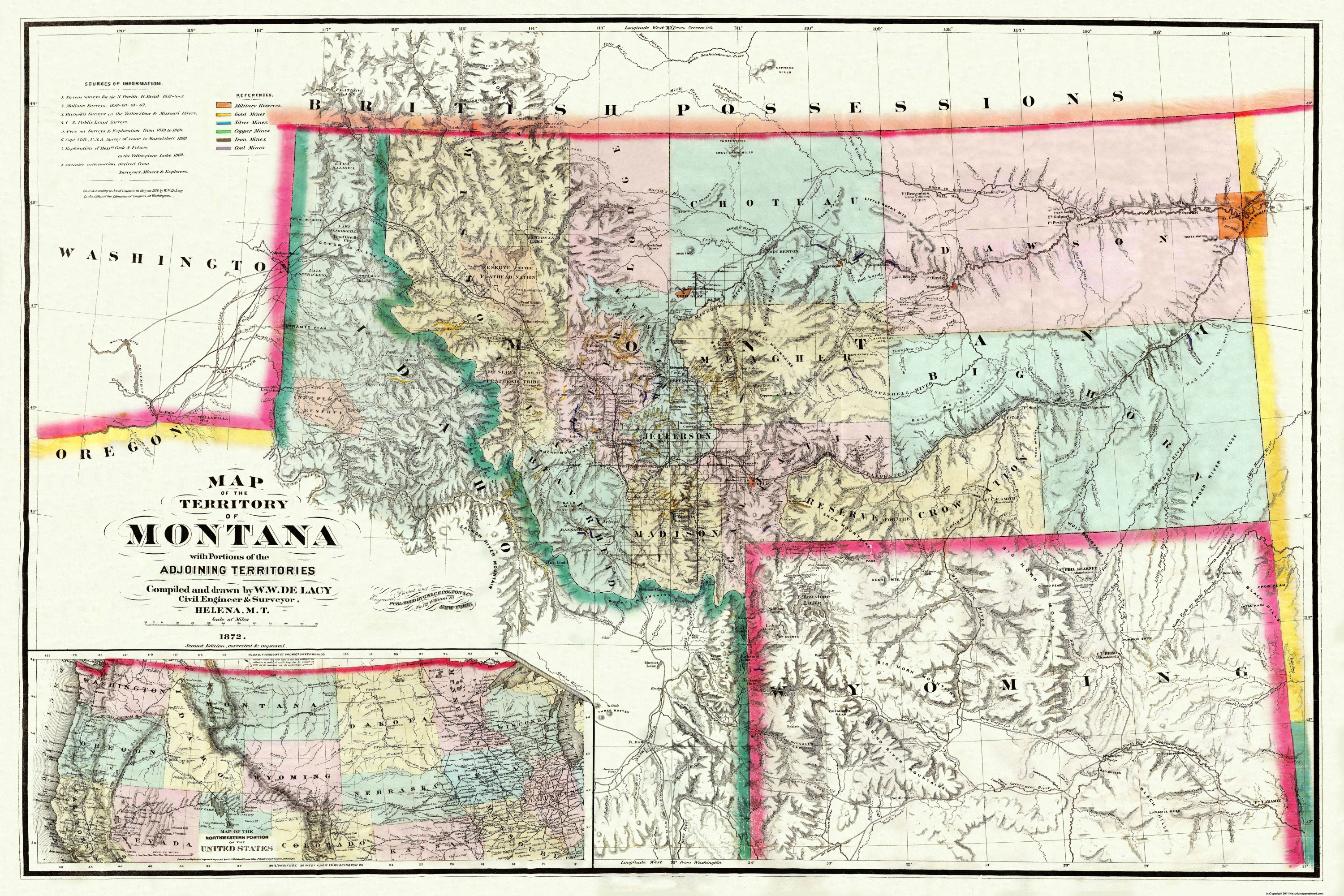 Old State Map Montana Territory Delacy - United states map montana