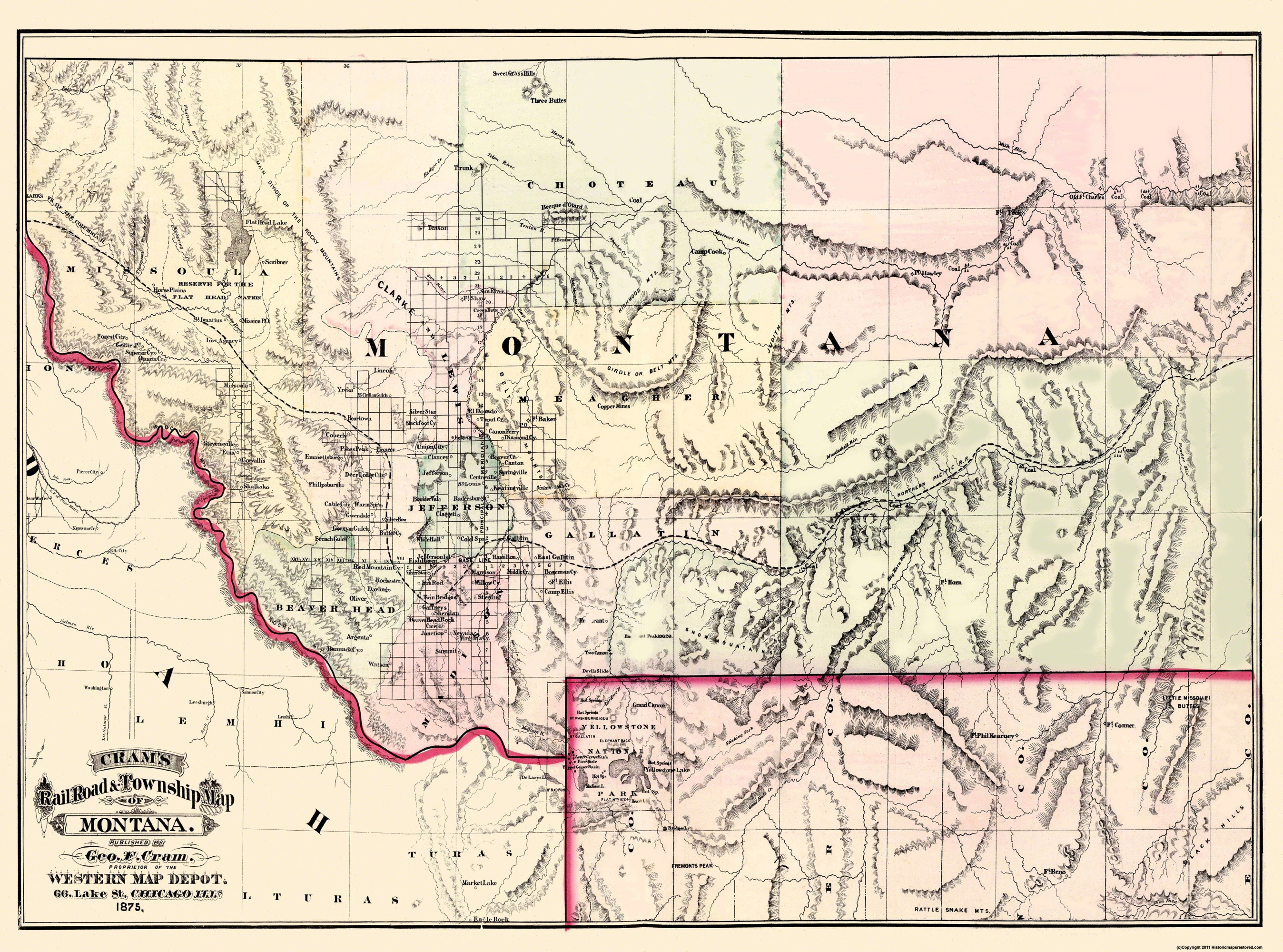 Old State Map Montana Territory Cram - Montana cities map
