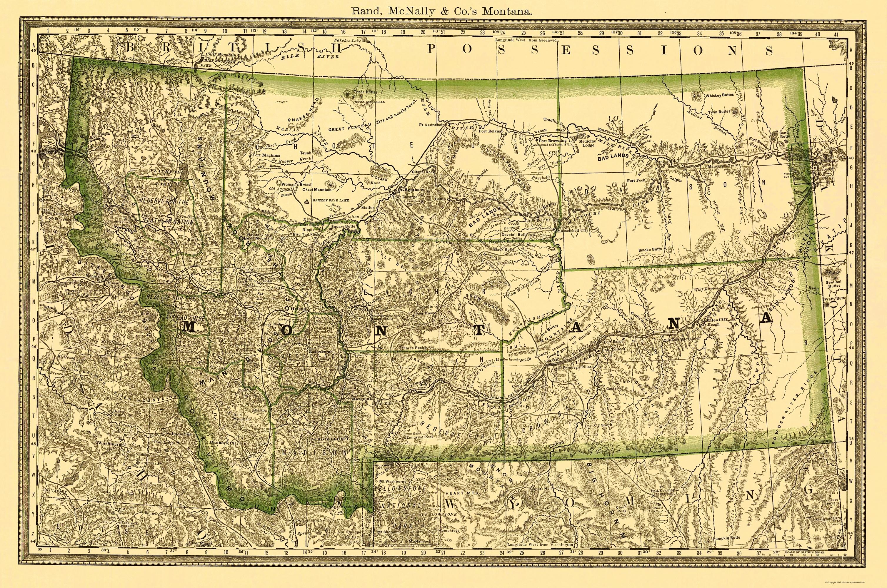 Old State Map - Montana - Rand McNally 1881 - 23 x 34.68