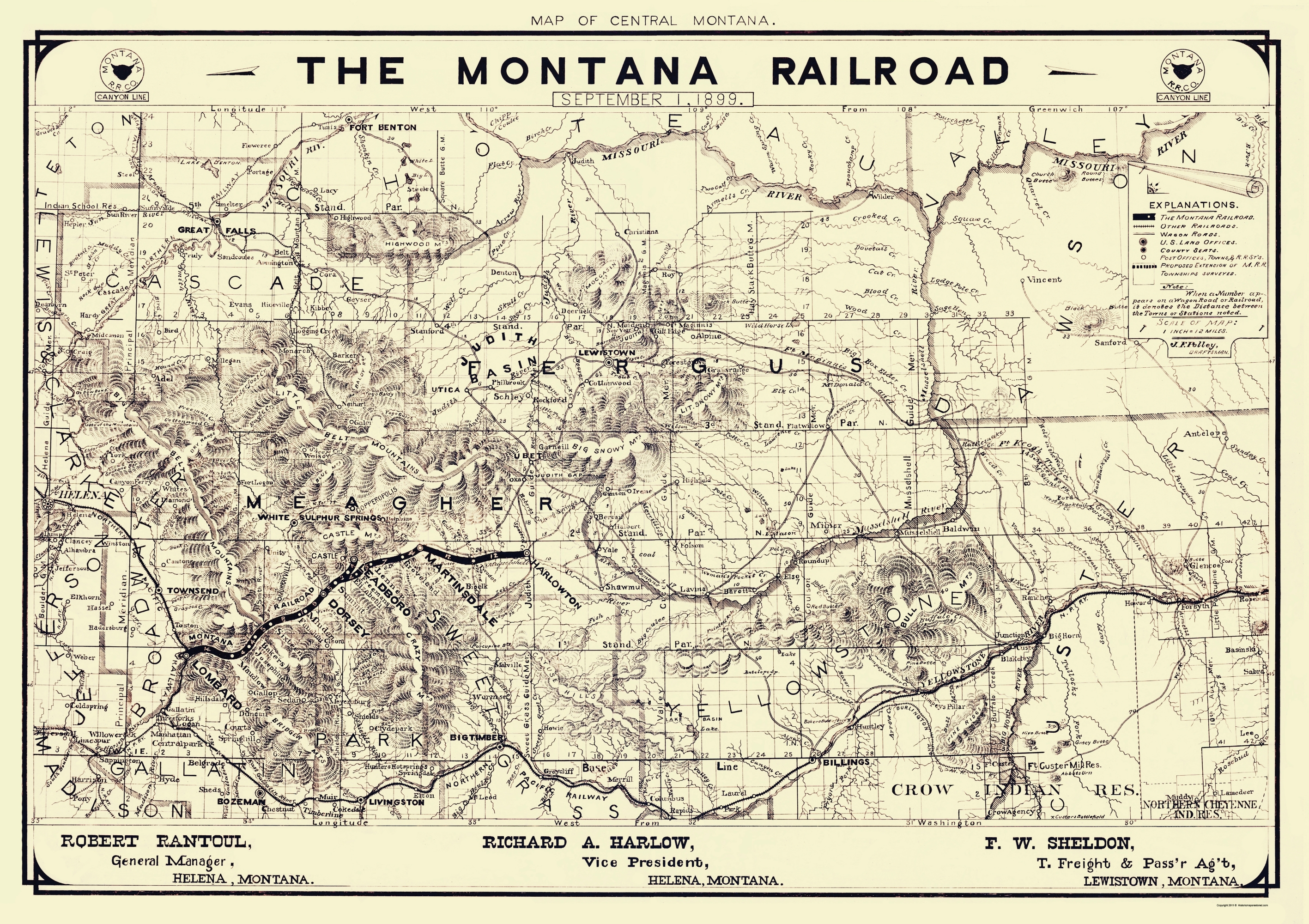 Old Railroad Map - Montana Railroad - Polley 1899 - 23 x 32.59