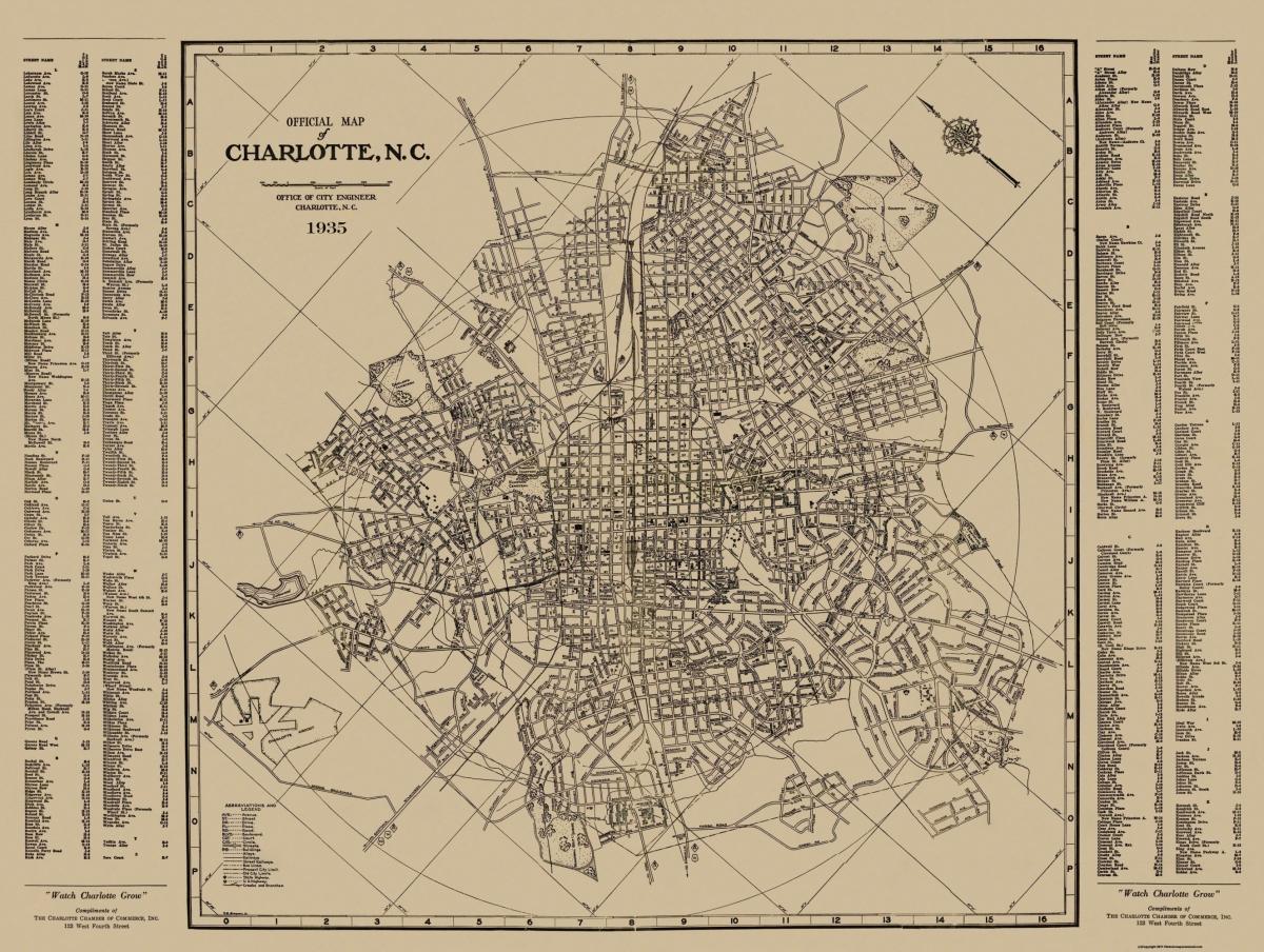 Old Map - Charlotte, Street Guide North Carolina 1935
