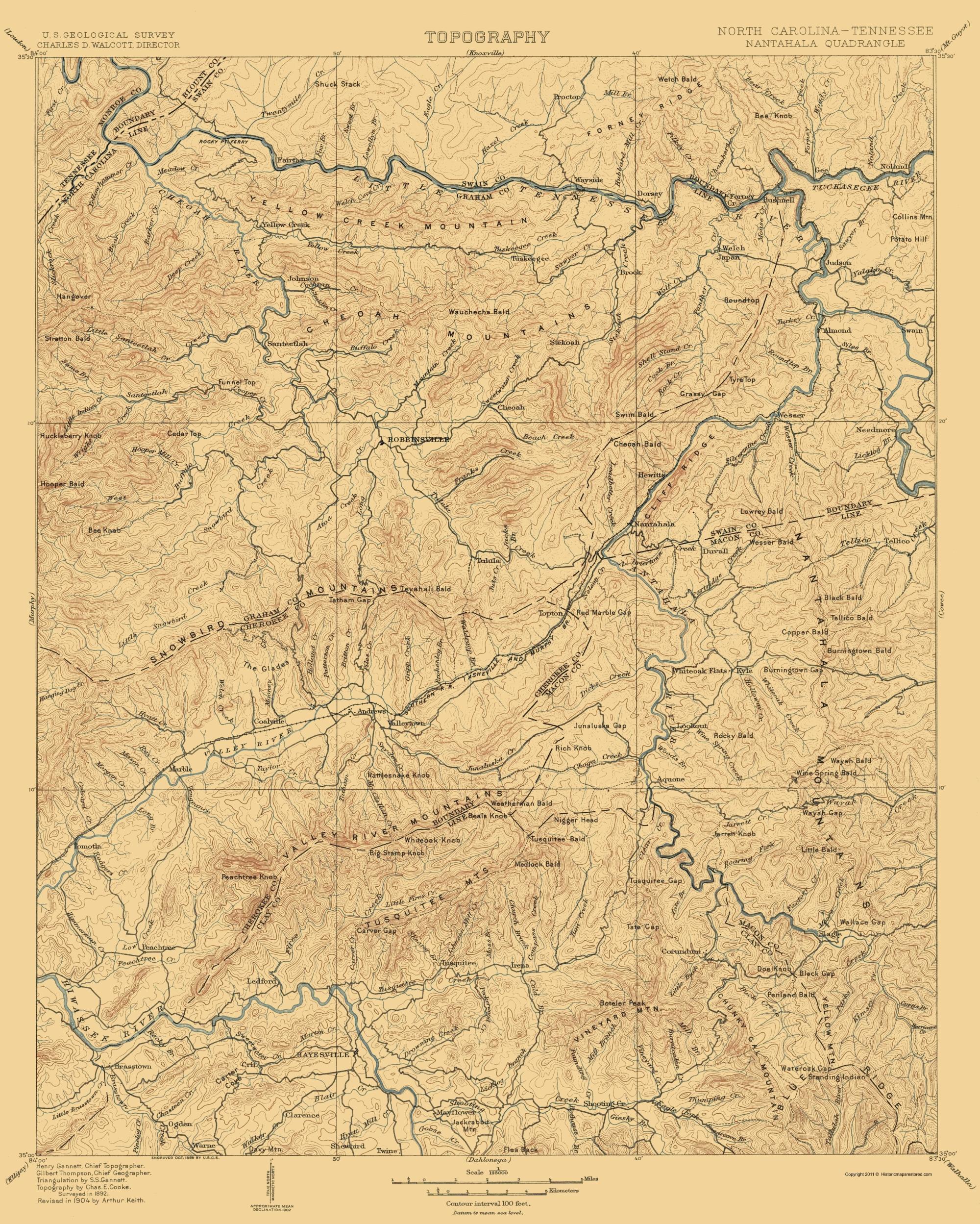 Old Topographical Map Nantahala North Carolina 1904
