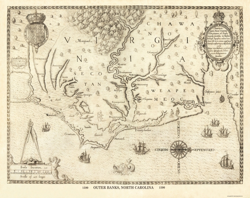 Old State Map - Outer Banks North Carolina, Virginia - 1590 - 29 x 23