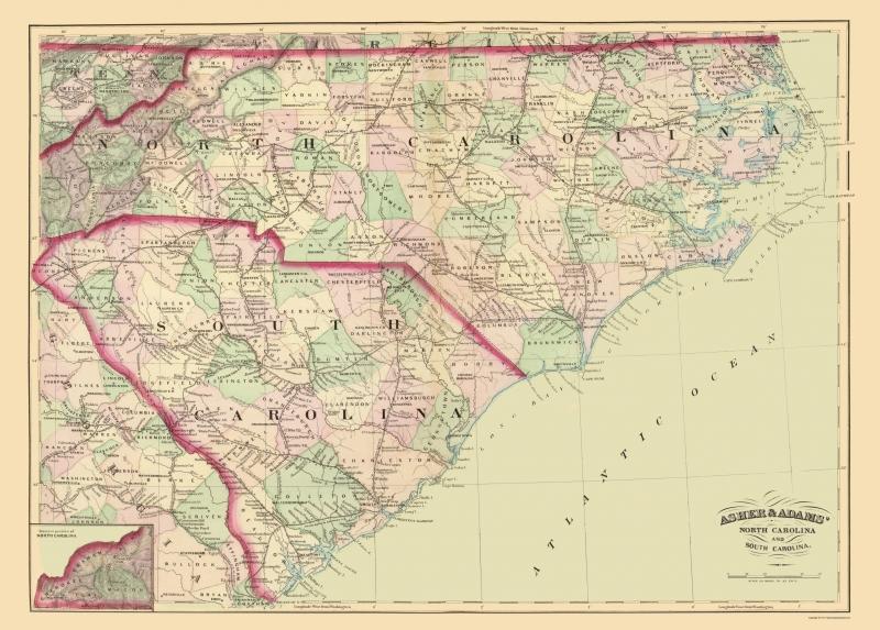Old State Map - North Carolina, South Carolina - Asher 1872 - 23 x on eastern seaboard map, virginia map, georgia map, pennsylvania map, usa map, michigan map, oregon map, montana map, colorado map, indiana map, arkansas map, louisiana map, ohio map, kentucky map, nc map, maryland map, east coast map, illinois map, delaware map, tennessee map, florida map, texas map, arizona map, mid atlantic map, southeast map, minnesota map, new jersey map, missouri map, california map, new york map,