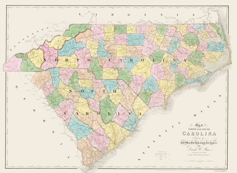 Old State Map - North Carolina, South Carolina - Burr 1839 - 23 x 31.47