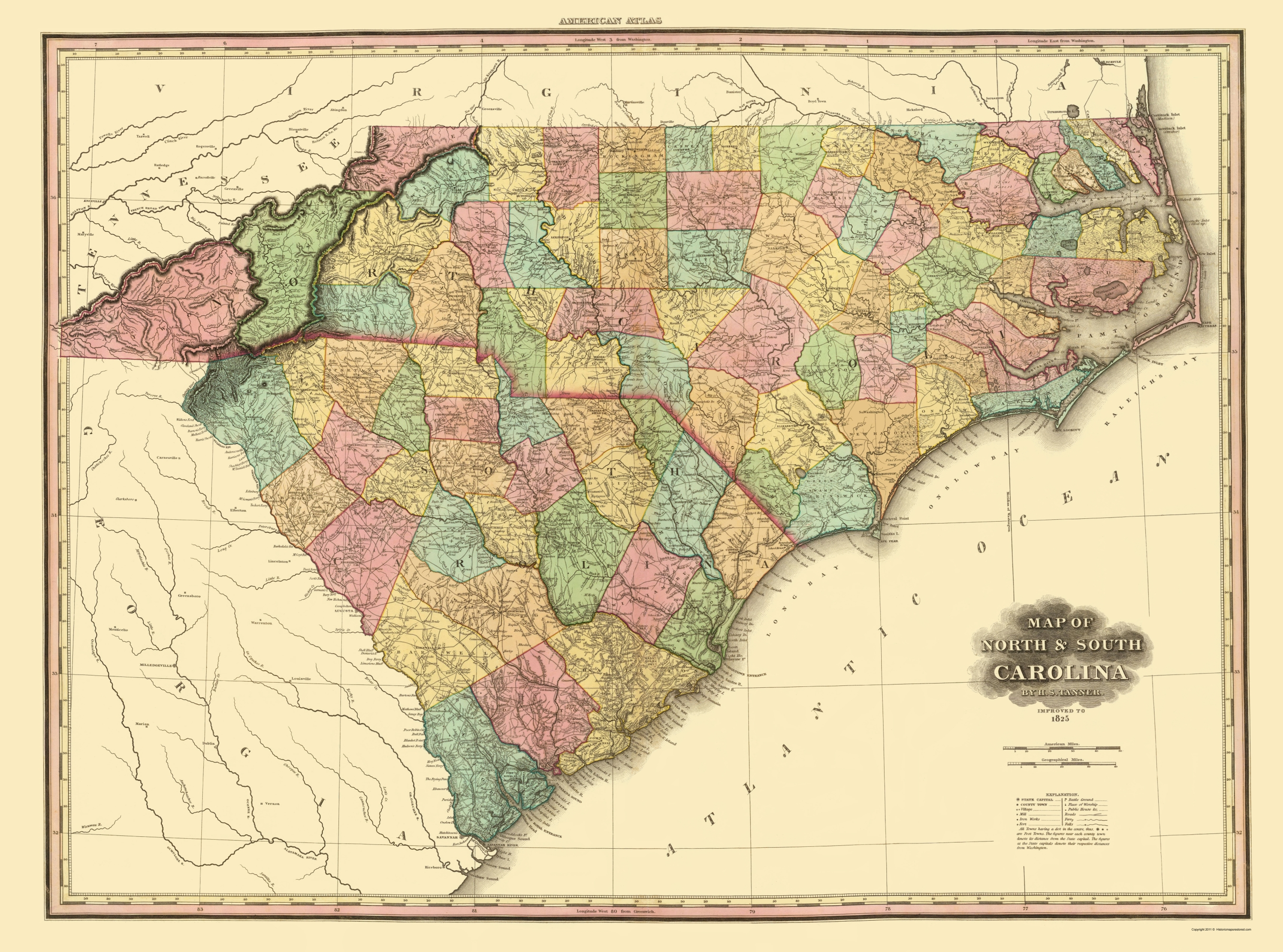 Old State Map North Carolina South Carolina 1825