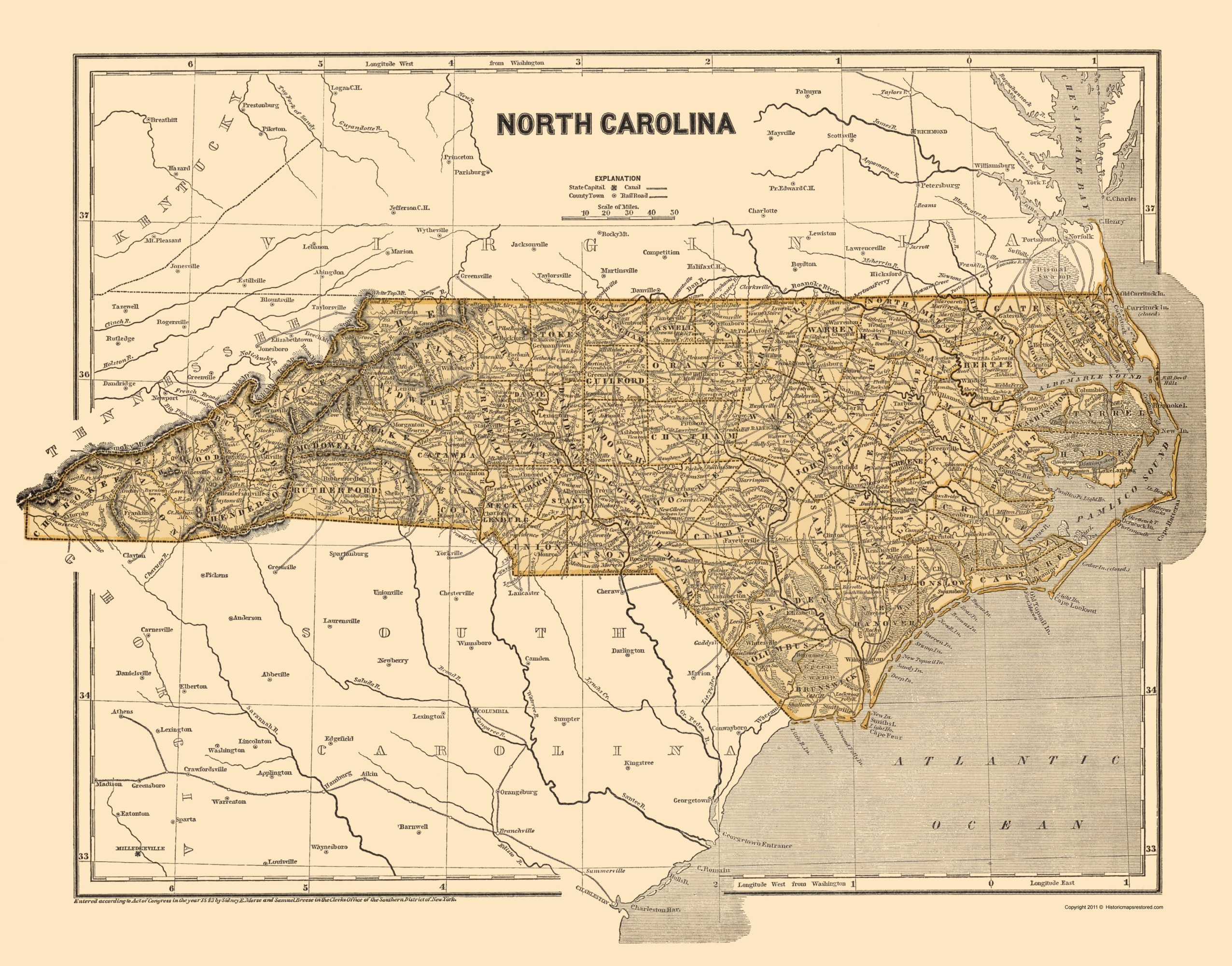 Old State Map North Carolina Morse 1845