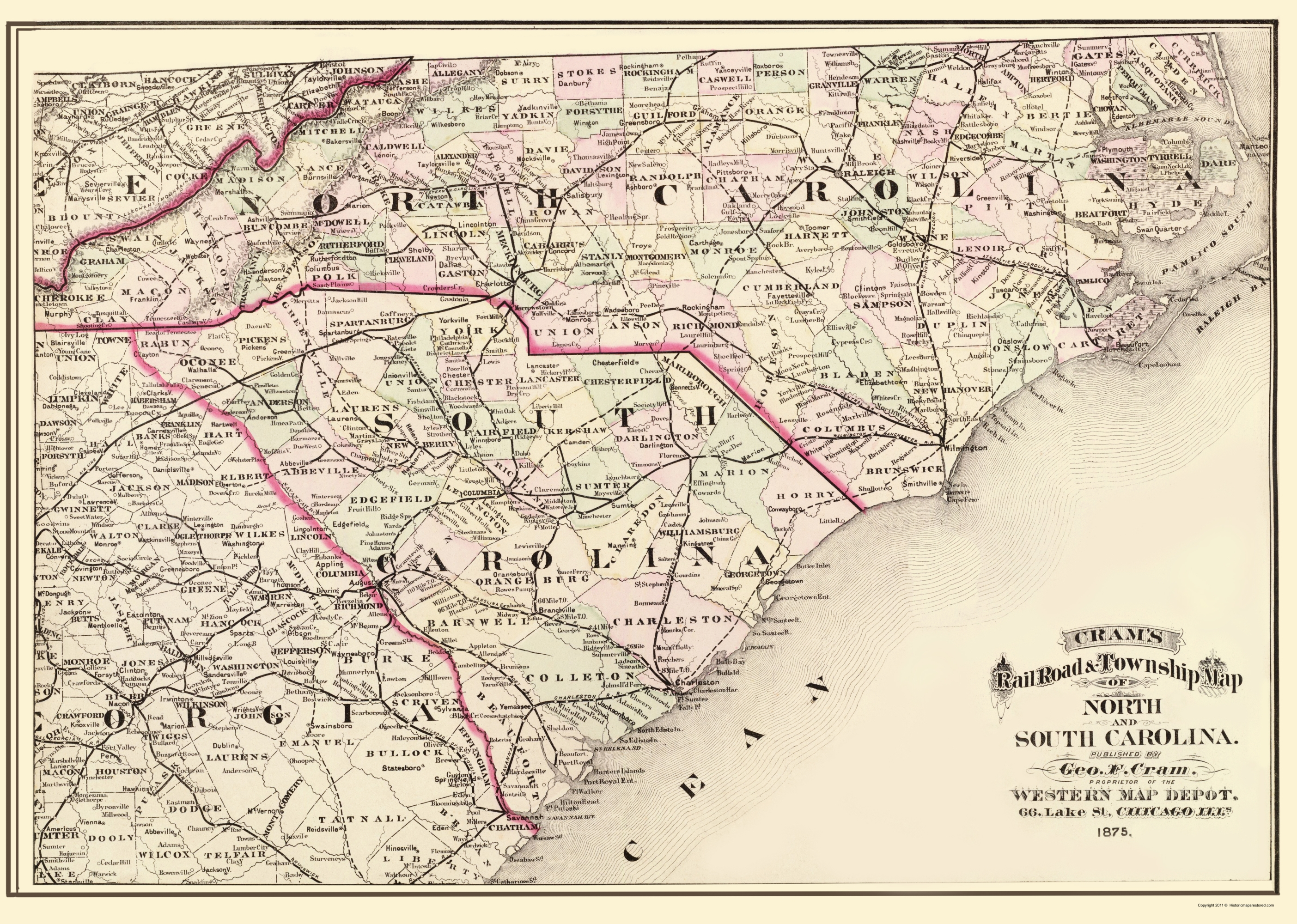 Old State Map - North Carolina, South Carolina 1875