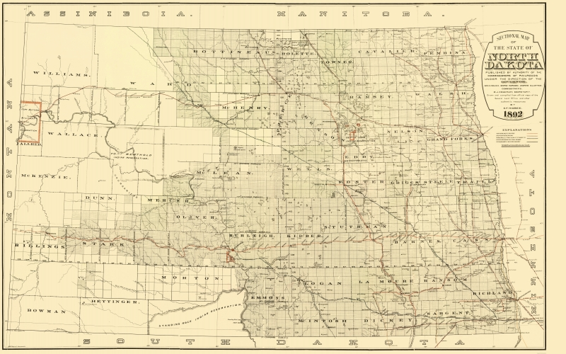 Old Railroad Map - North Dakota Railroads - Higbee 1892 - 23 x 36.83