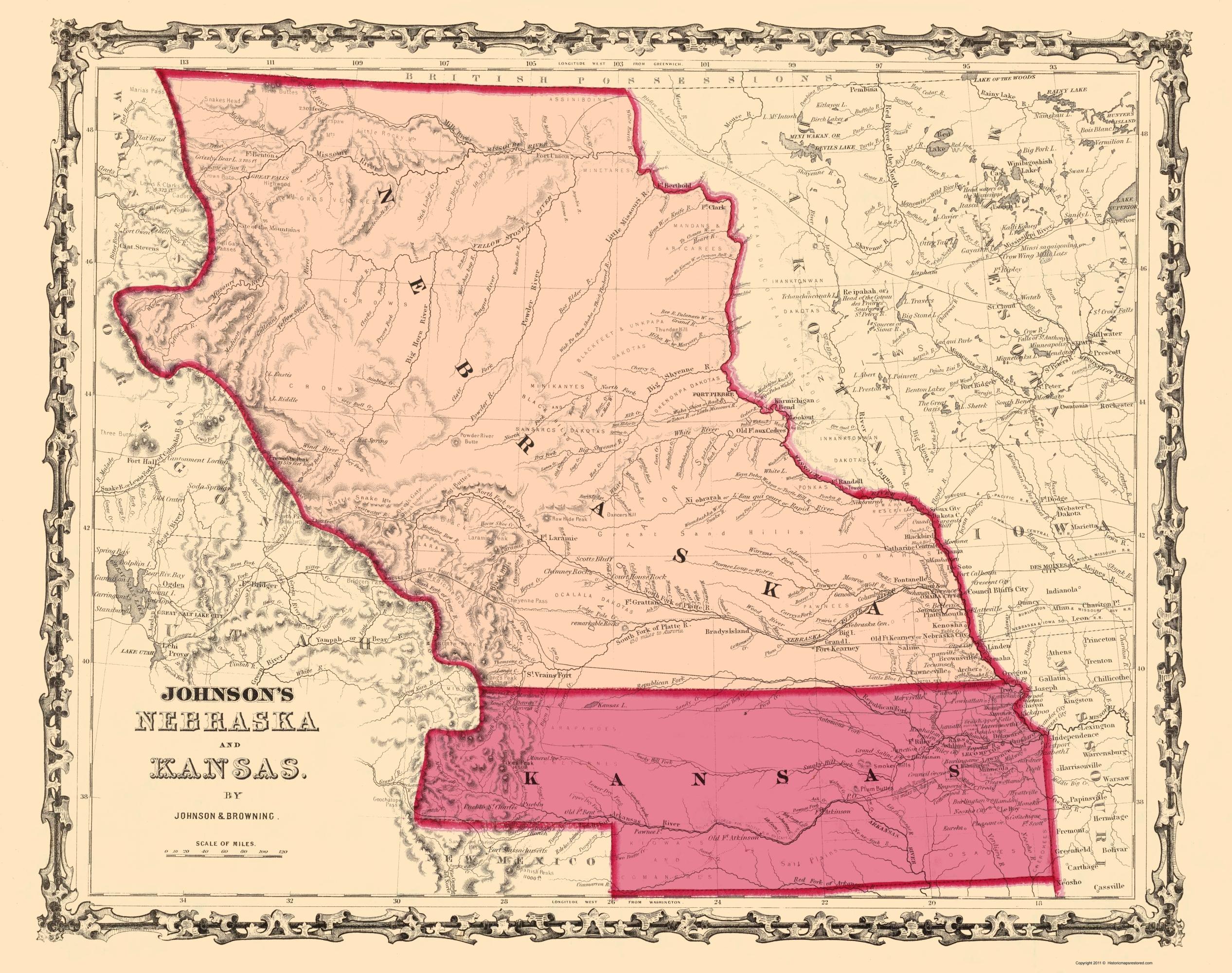 Old State Map Nebraska Kansas Johnson 1860