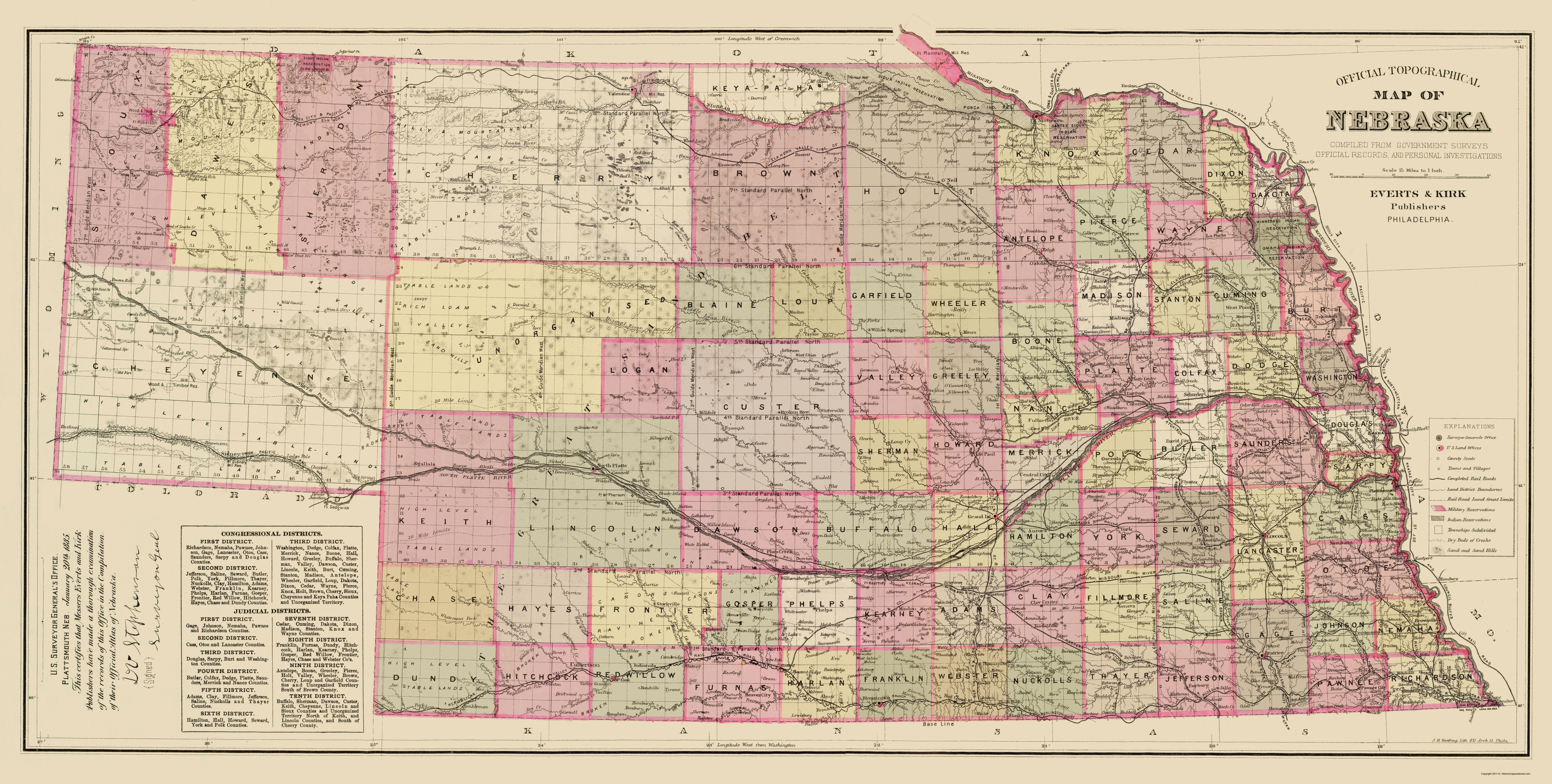 Old State Map Nebraska Everts - State map of nebraska