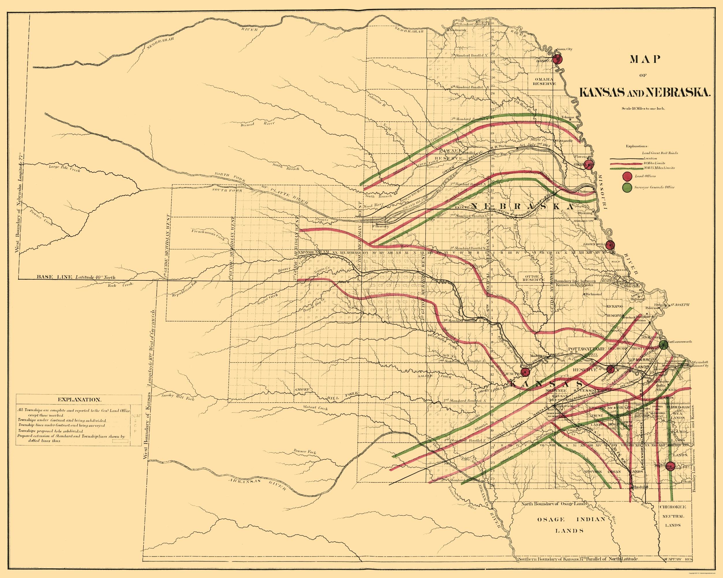 Old Railroad Map Kansas Nebraska Railroads 1865
