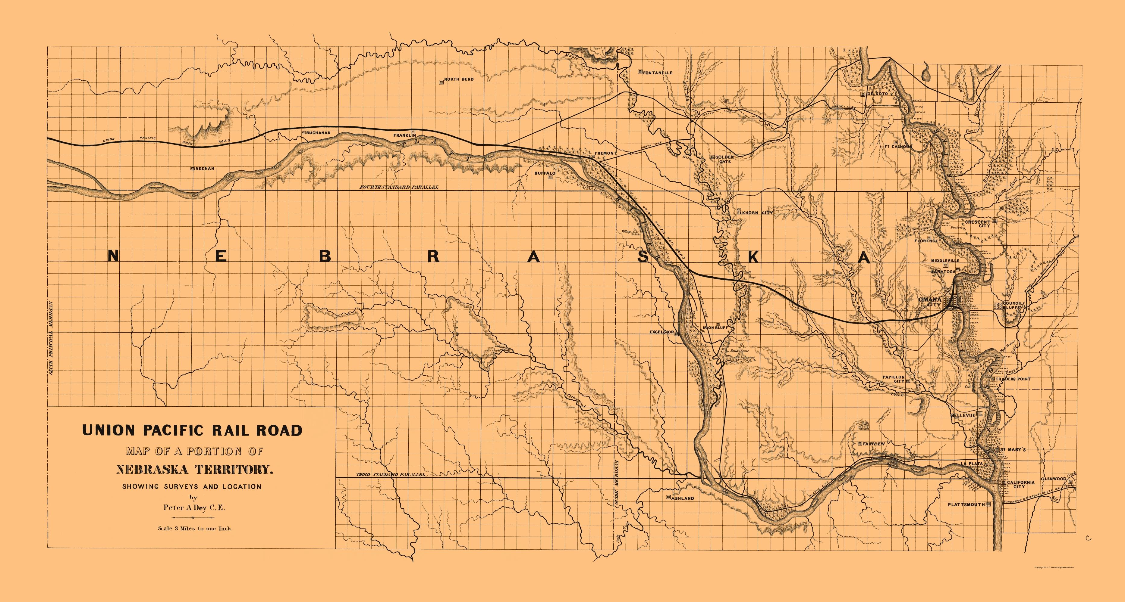 Railroad Map Union Pacific Railroad Nebraska Territory