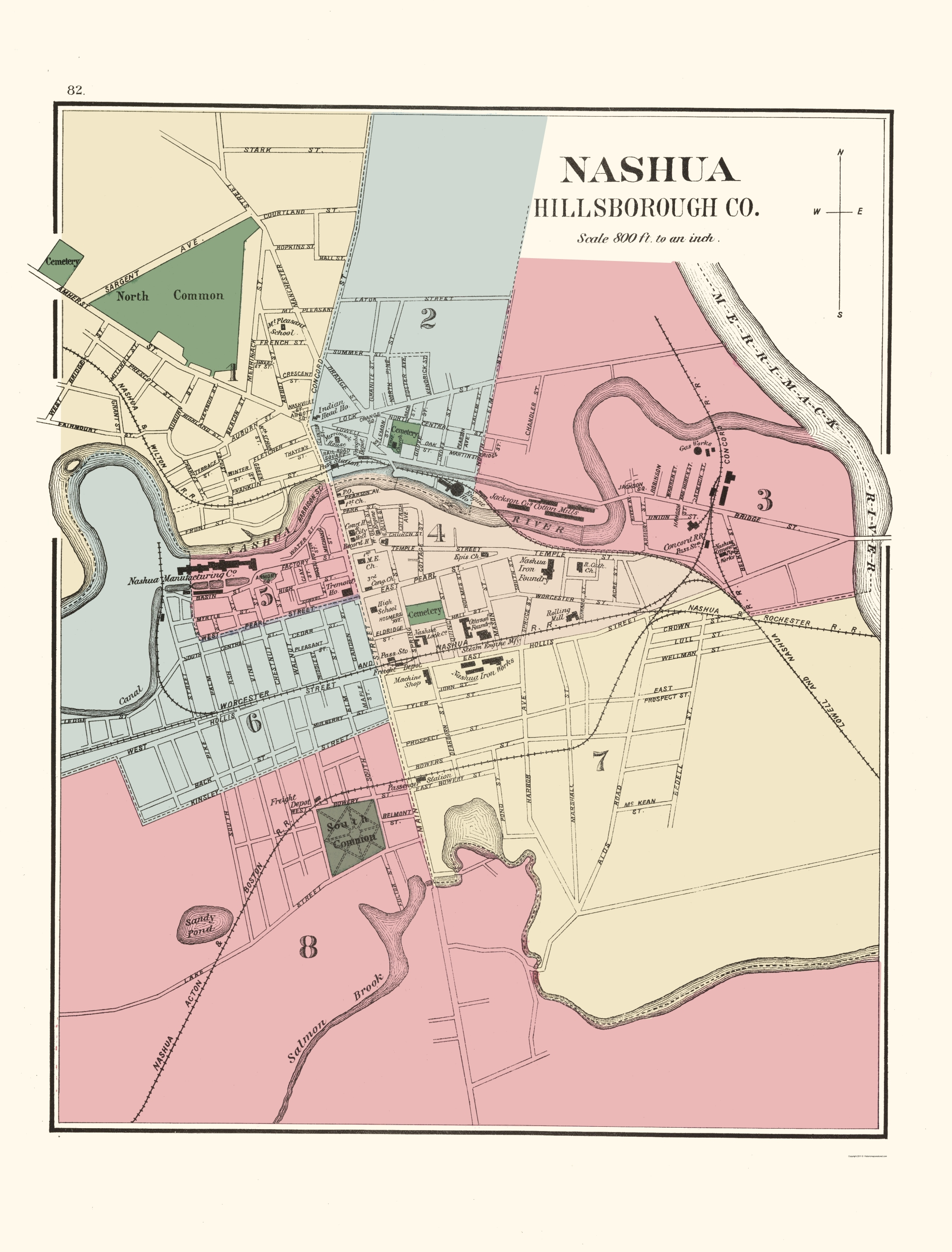 Old City Map Nashua New Hampshire Hitchcock 1877