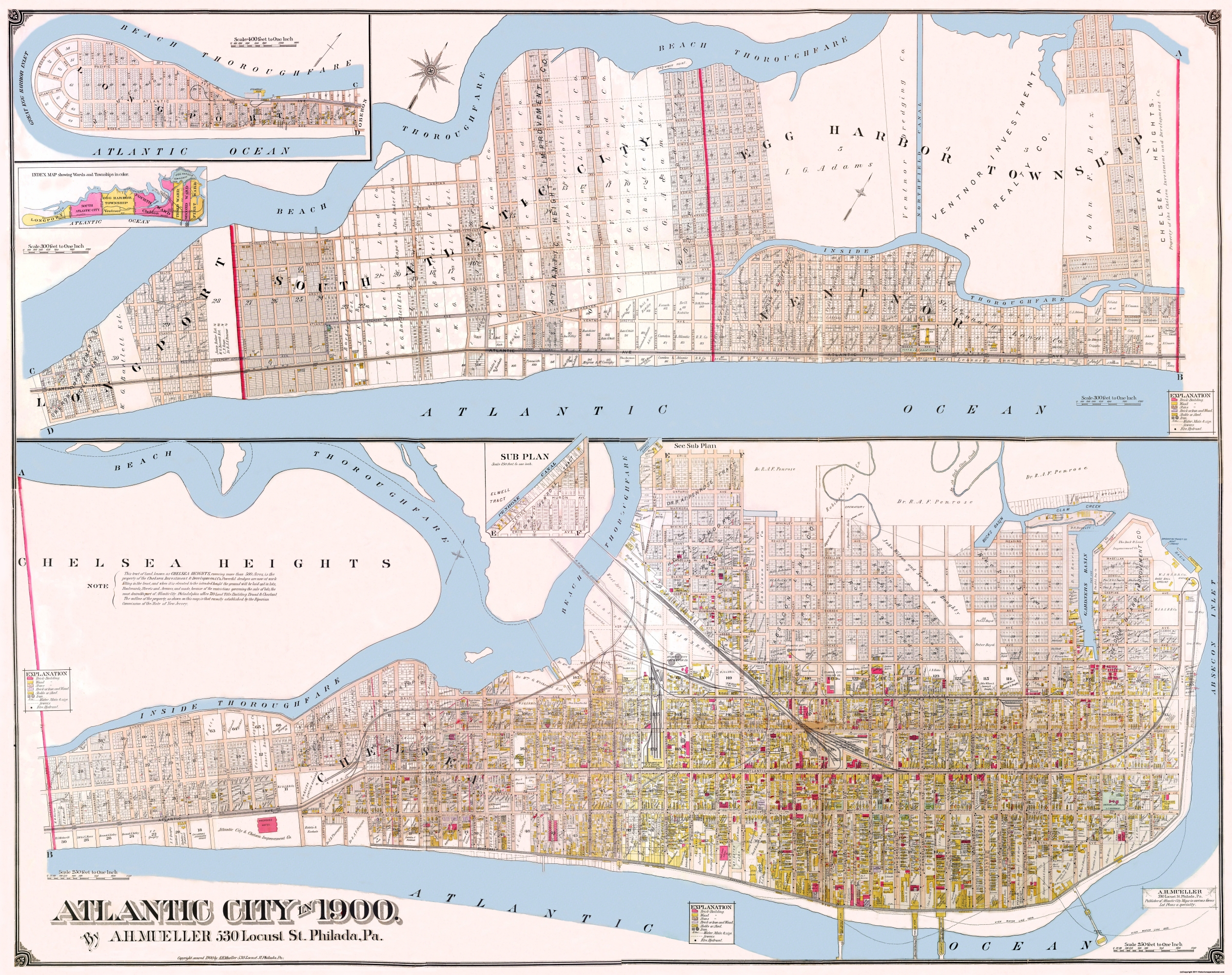 Old City Map  Atlantic City New Jersey Landowner 1900