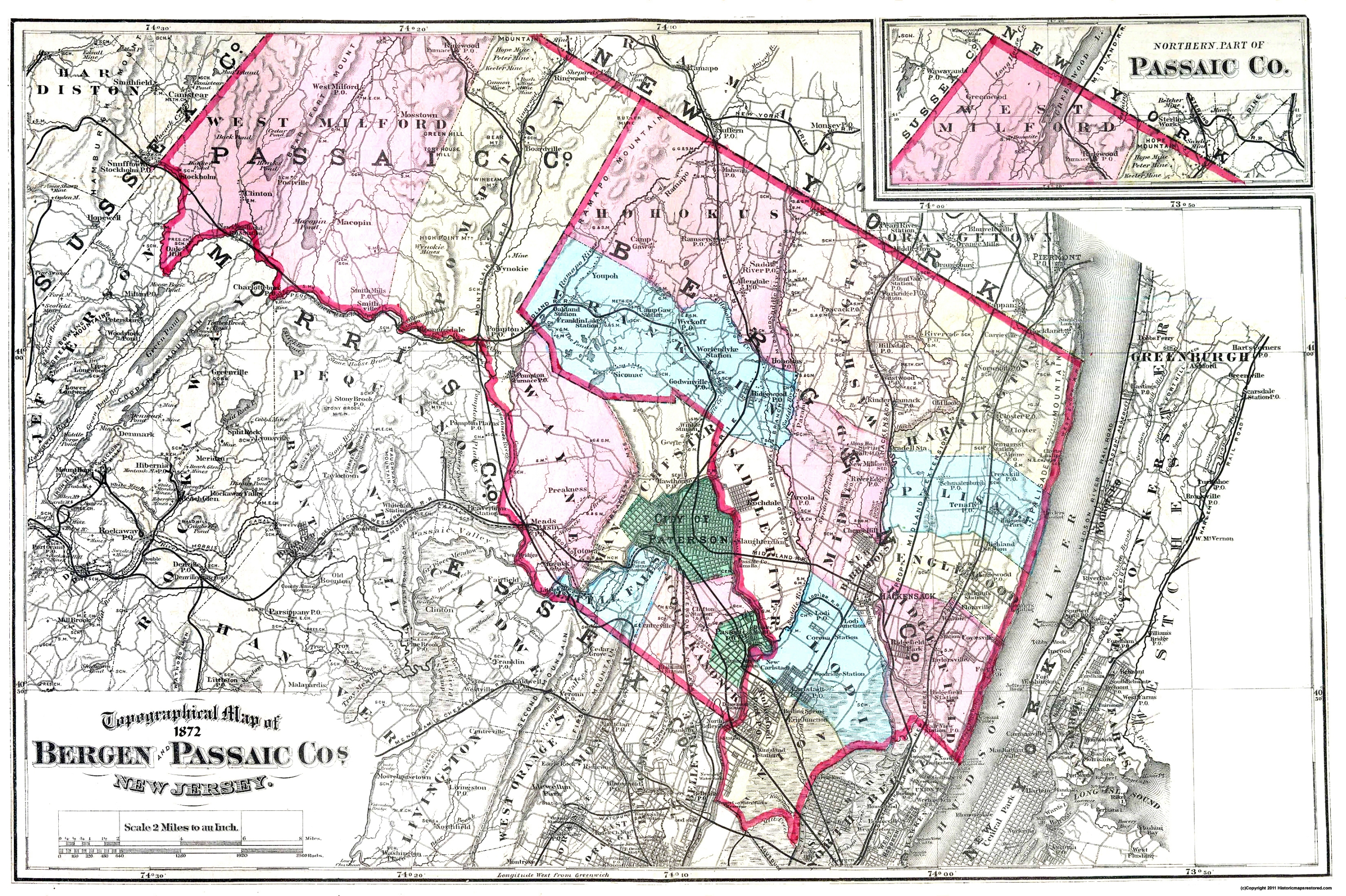 Old County Map - Bergen, Paic New Jersey - 1872 on