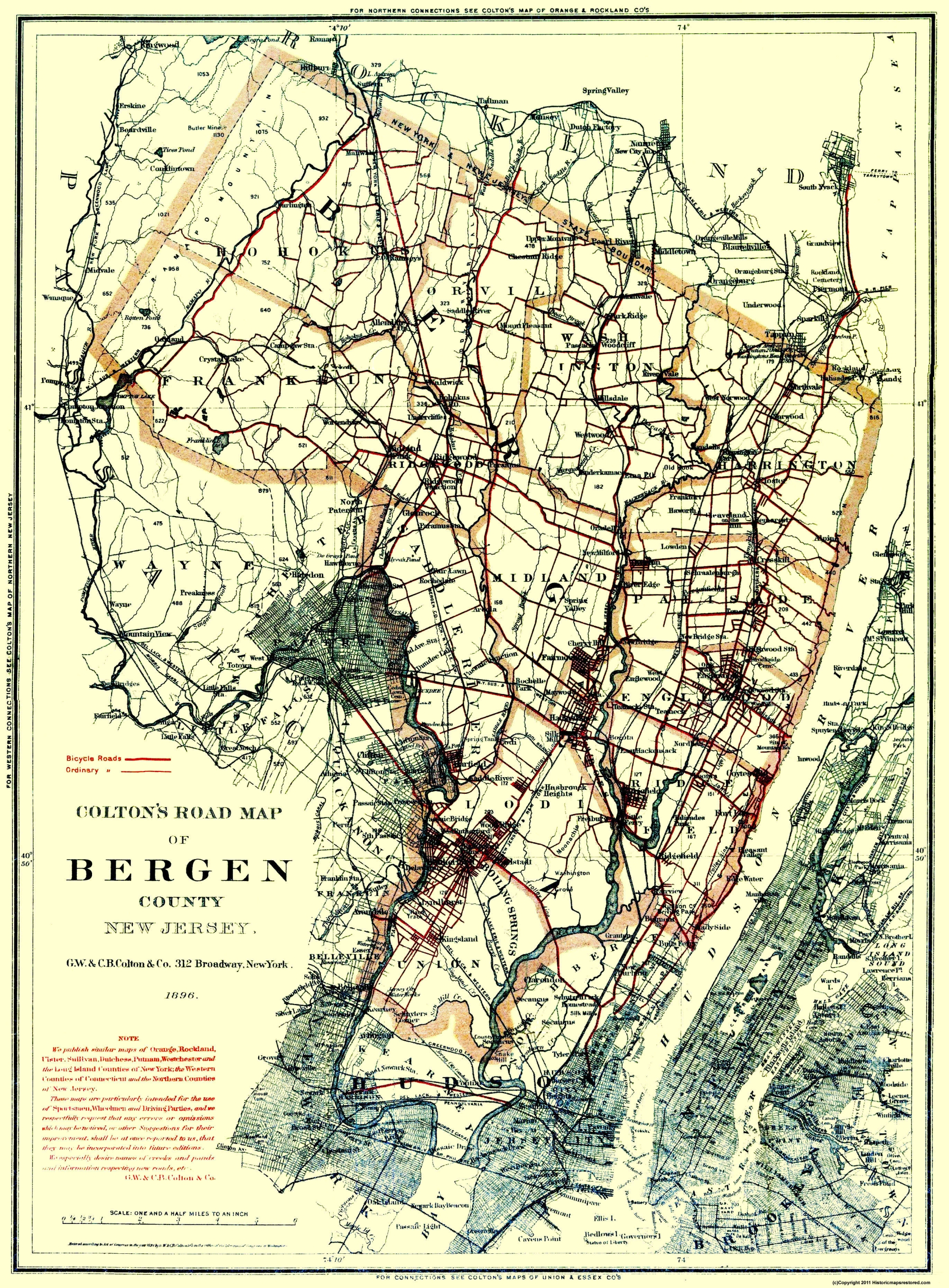 Old County Map Bergen New Jersey 1896