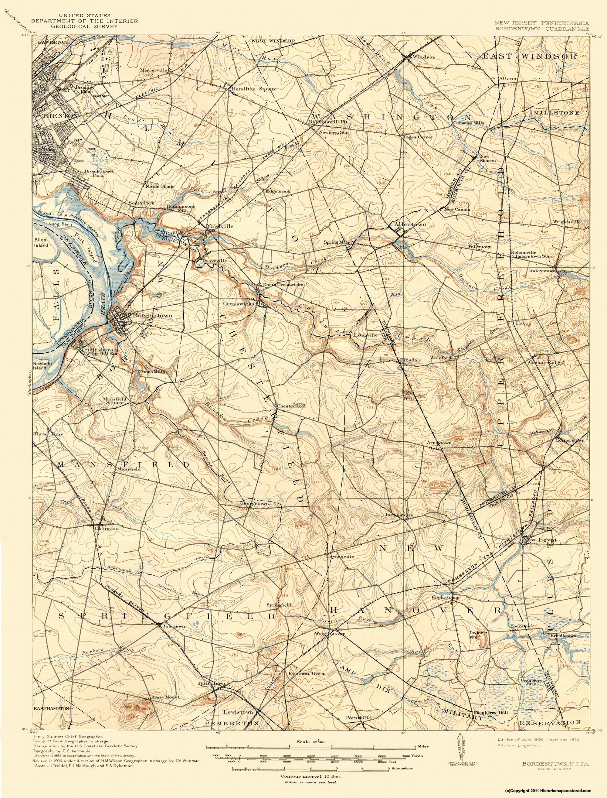 Topographical Map - Bordentown New Jersey, Pennsylvania Quad 1906 - on