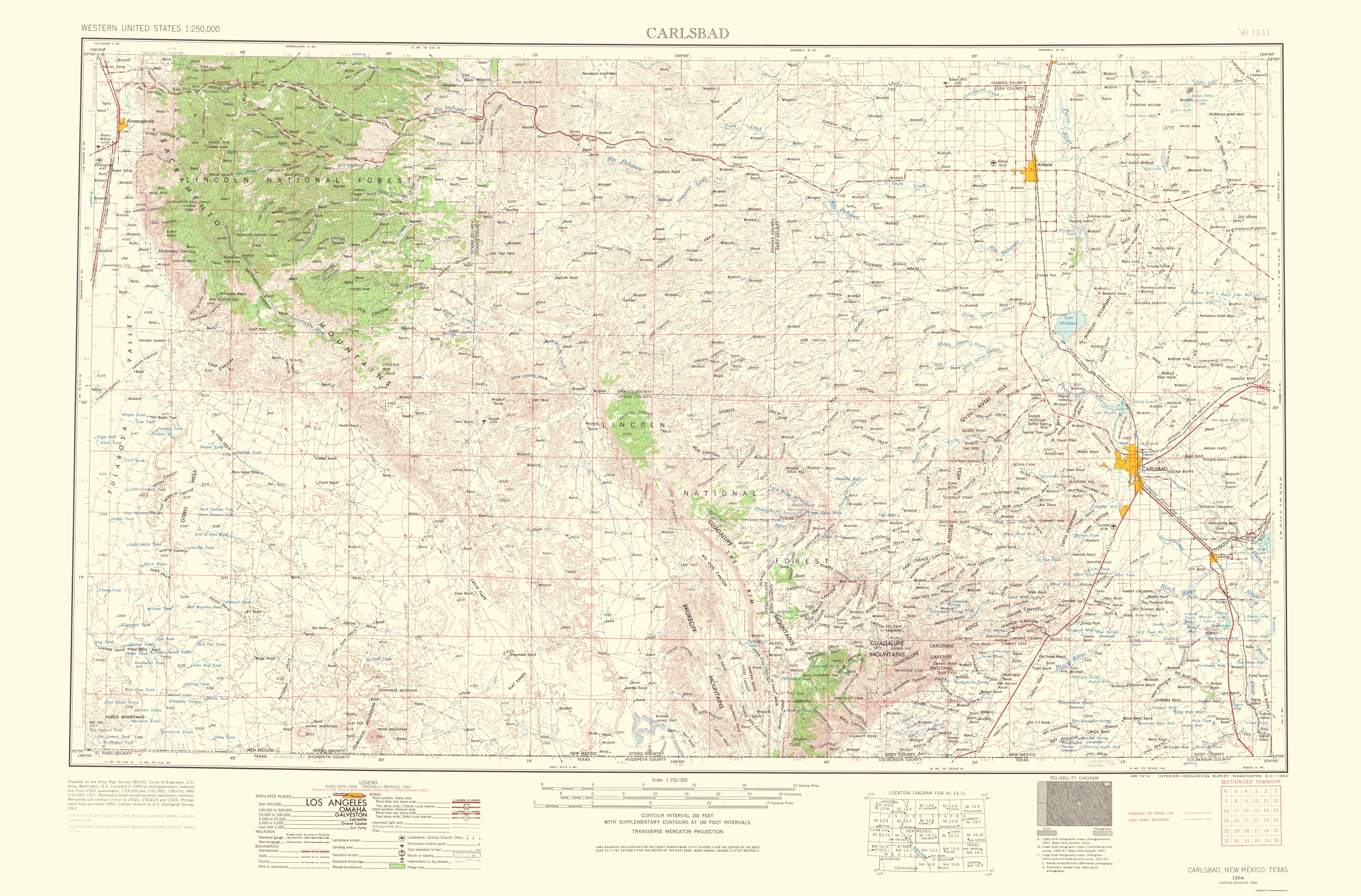 Old Topographical Map Carlsbad New Mexico 1963