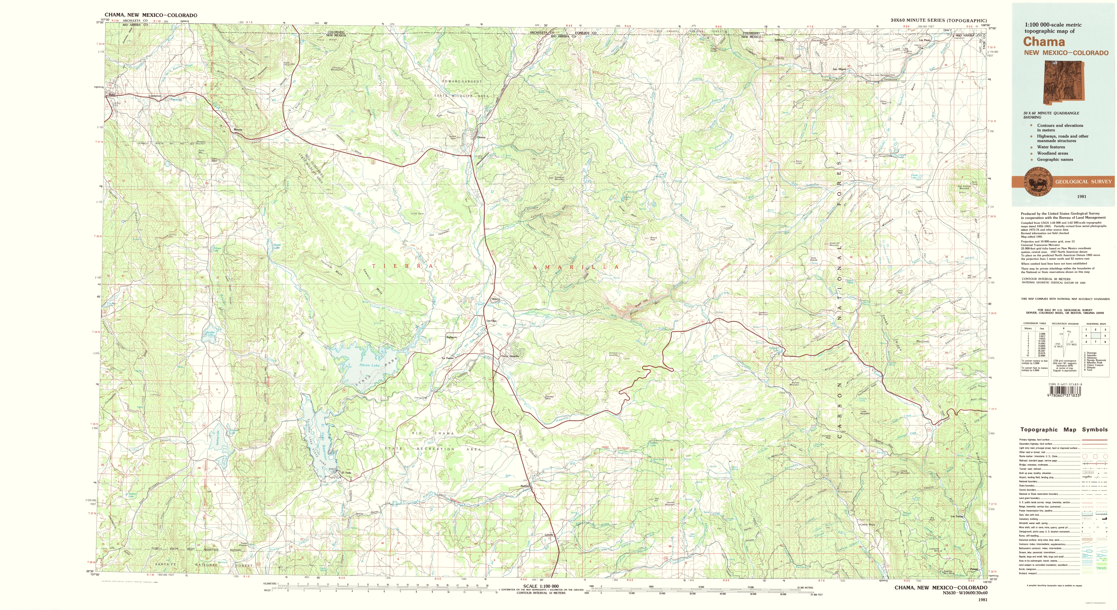 Old Topographical Map Chama New Mexico Colorado 1981