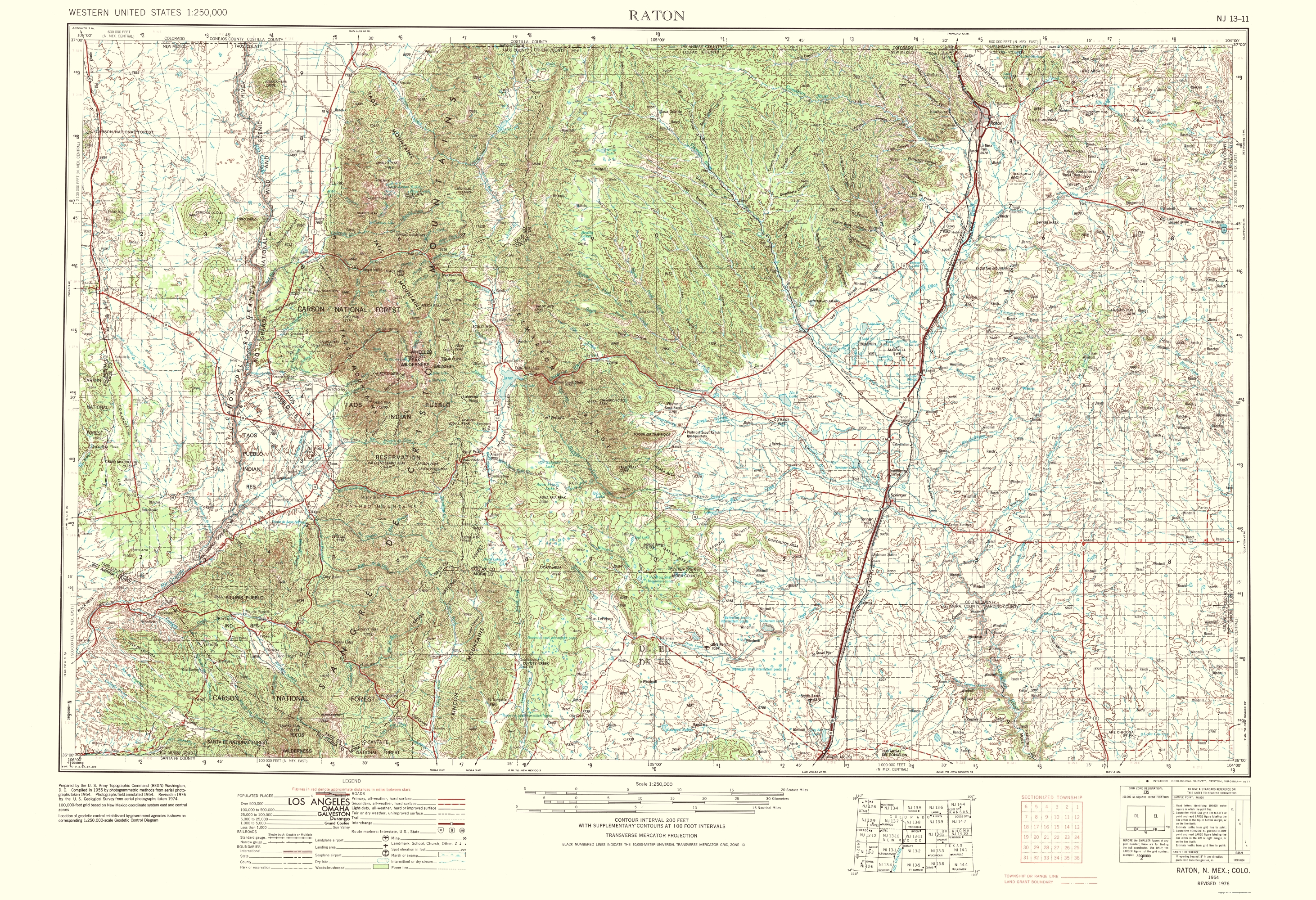 Old Topographical Map Raton Colorado New Mexico - New mexico elevation map