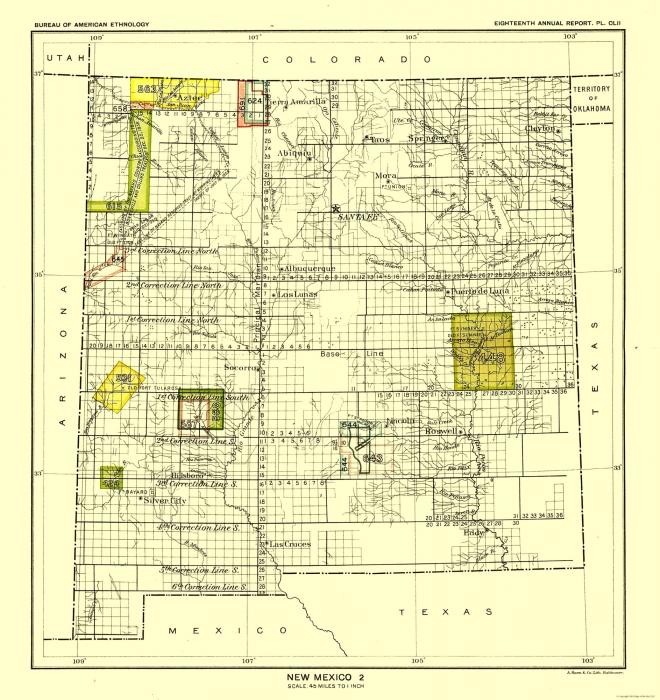 Old State Maps New Mexico Santa Fe Hoen 1896 23 X 24 38