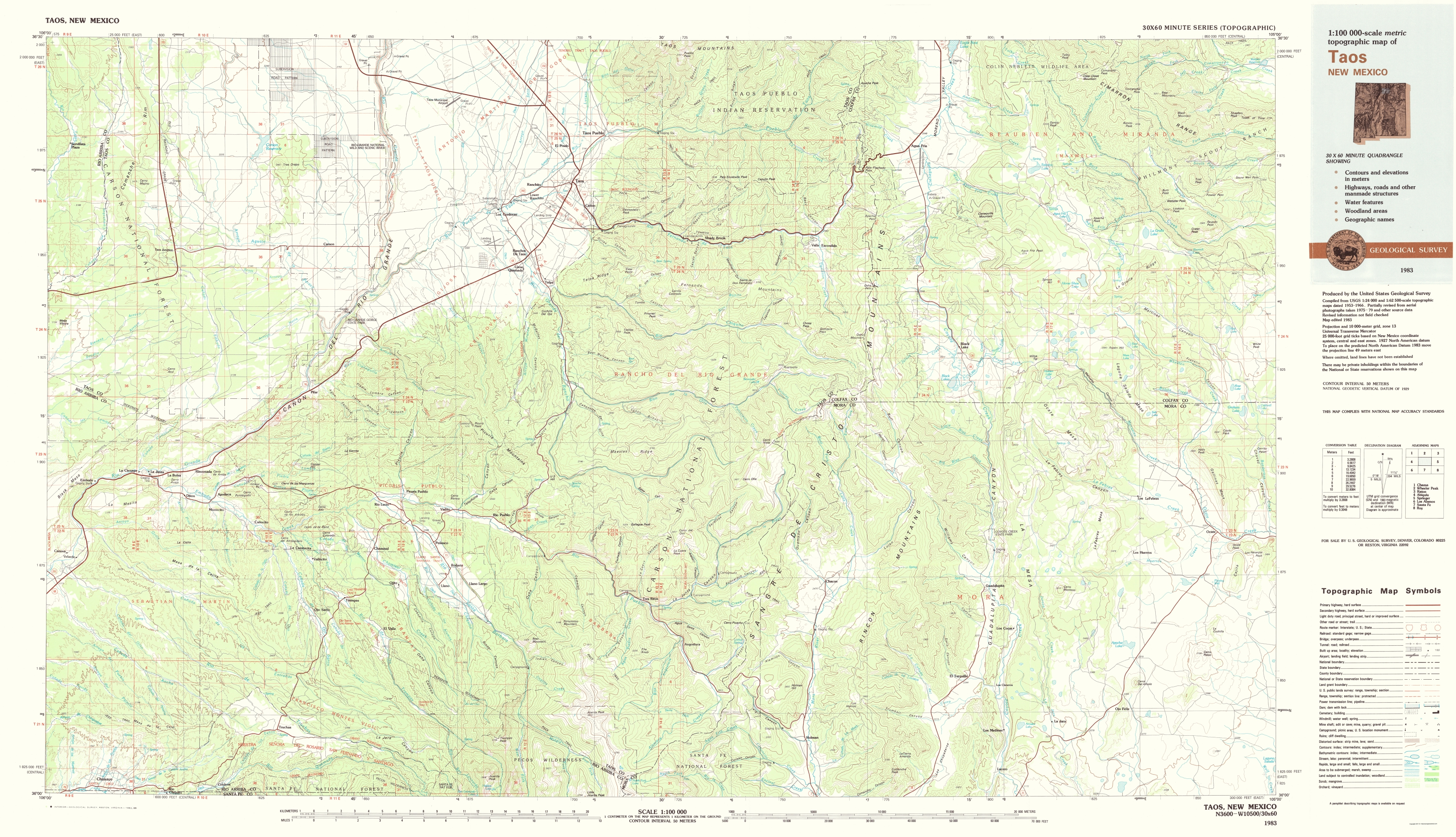 Topographical Map Print - Taos New Mexico - USGS 1983 - 23 x 39.99 on maps in cleveland, maps in wyoming, maps in laos, maps in brooklyn, maps in massachusetts, maps in turkey, maps in sweden, maps in equador, maps in philippines, maps in indiana, maps in puerto rico, maps in houston, maps in sri lanka, maps in vietnam, maps in zambia, maps in california, maps in singapore, maps in louisiana, maps in honduras, maps in nepal,