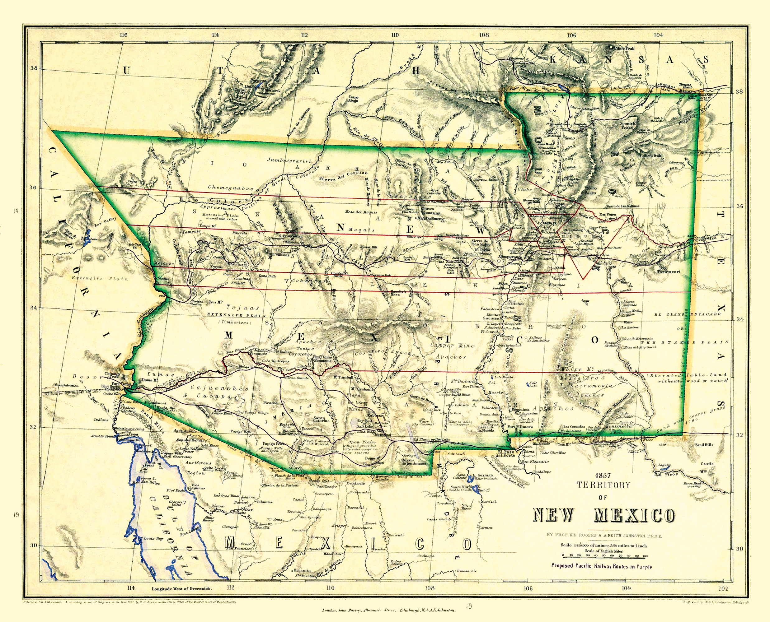 Old State Map - New Mexico Territory - Johnston 1857