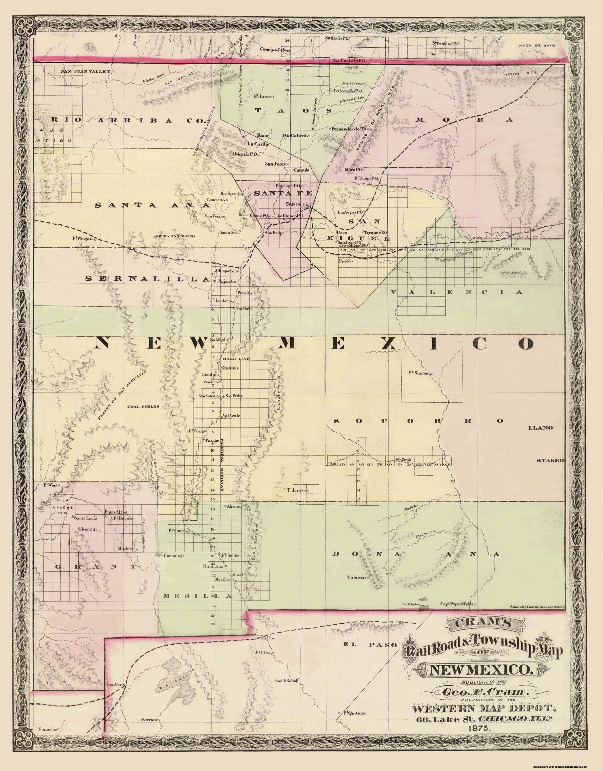Old State Map - New Mexico Territory - Cram 1875