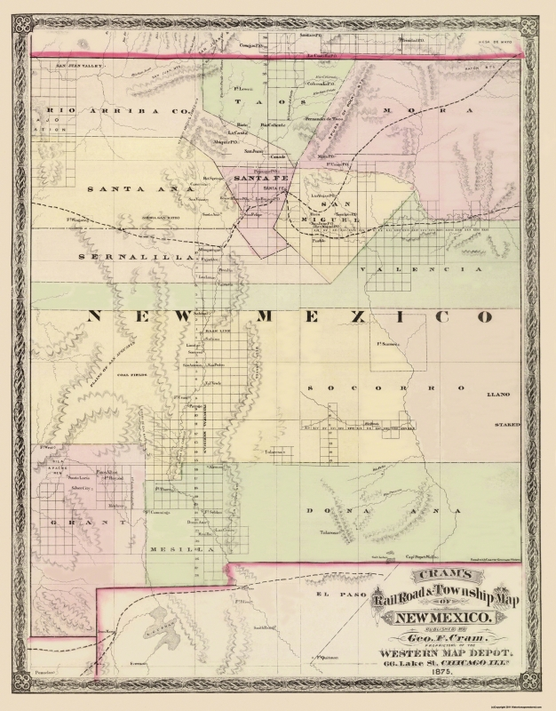 Old State Map - New Mexico Territory - Cram 1875 - 23 x 29.38