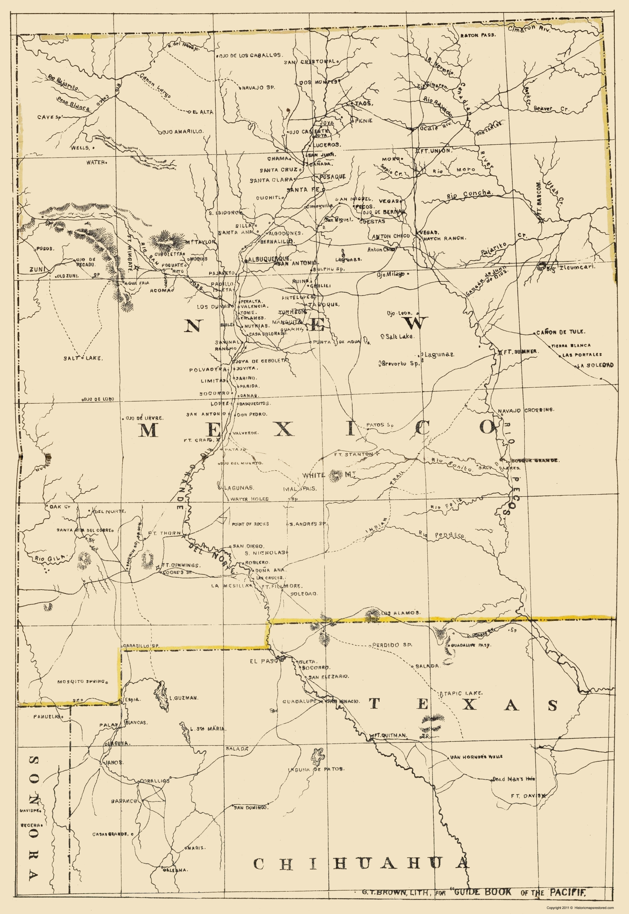 Old State Map - New Mexico - Holdredge 1866 - 23 x 33.41
