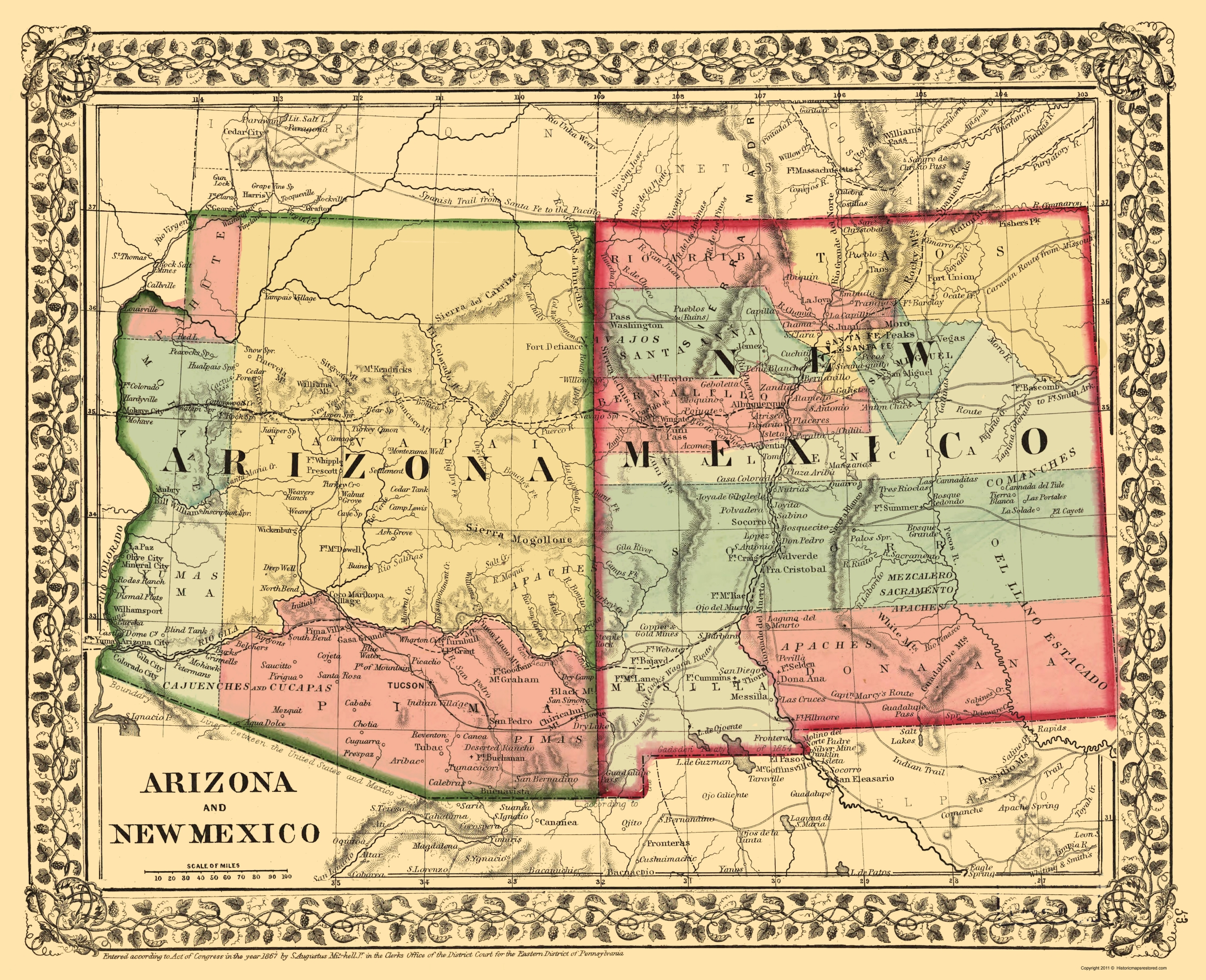 Old State Map New Mexico Arizona Mitchell 1867