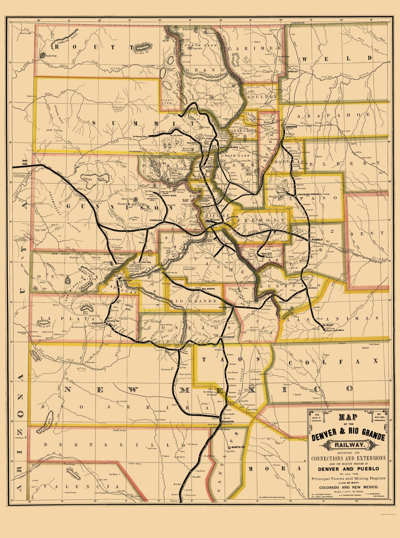 Old Railroad Map Denver And Rio Grande Railway 1881