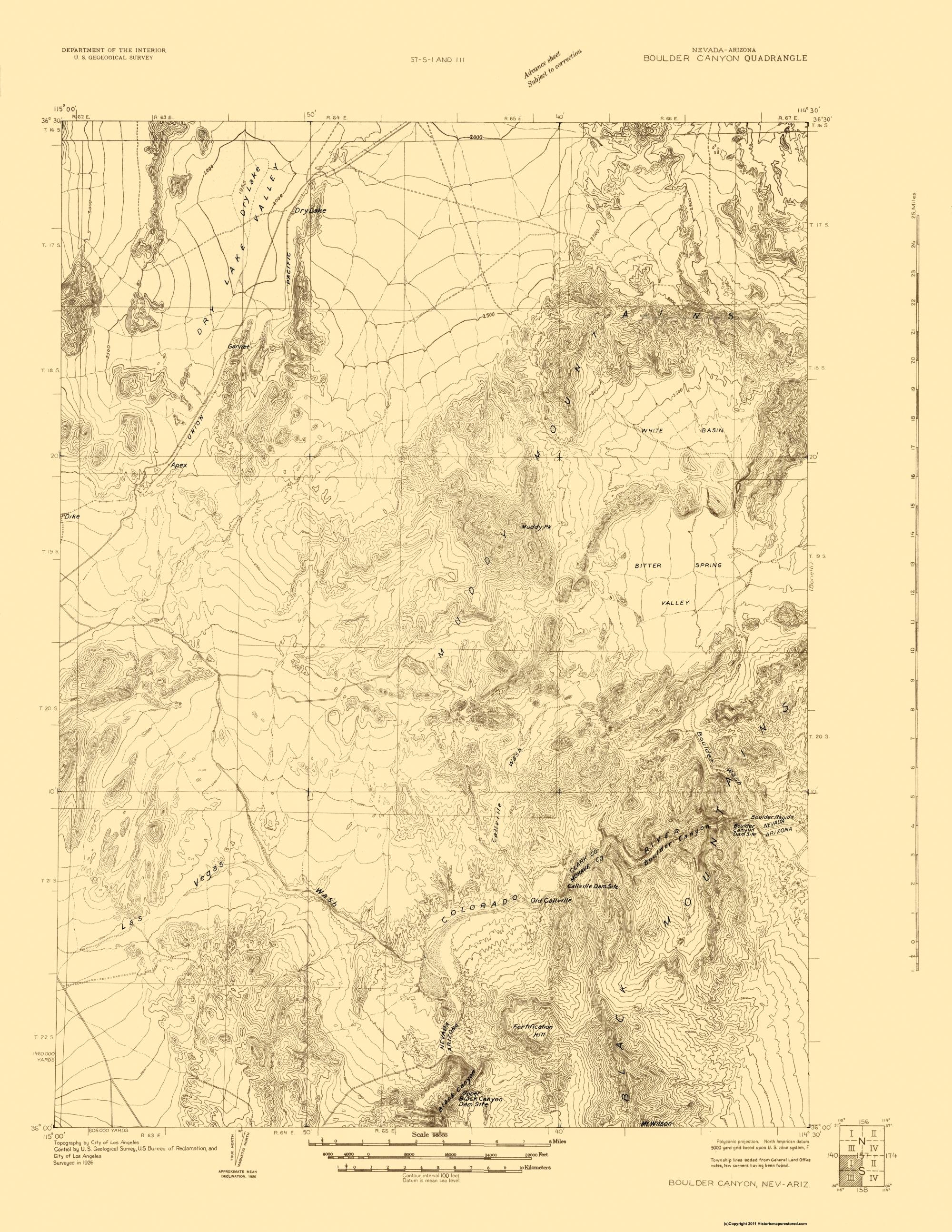 Map Of Nevada And Arizona.Topographical Map Boulder Canyon Nevada Arizona Quad Usgs 1926 17 X 22