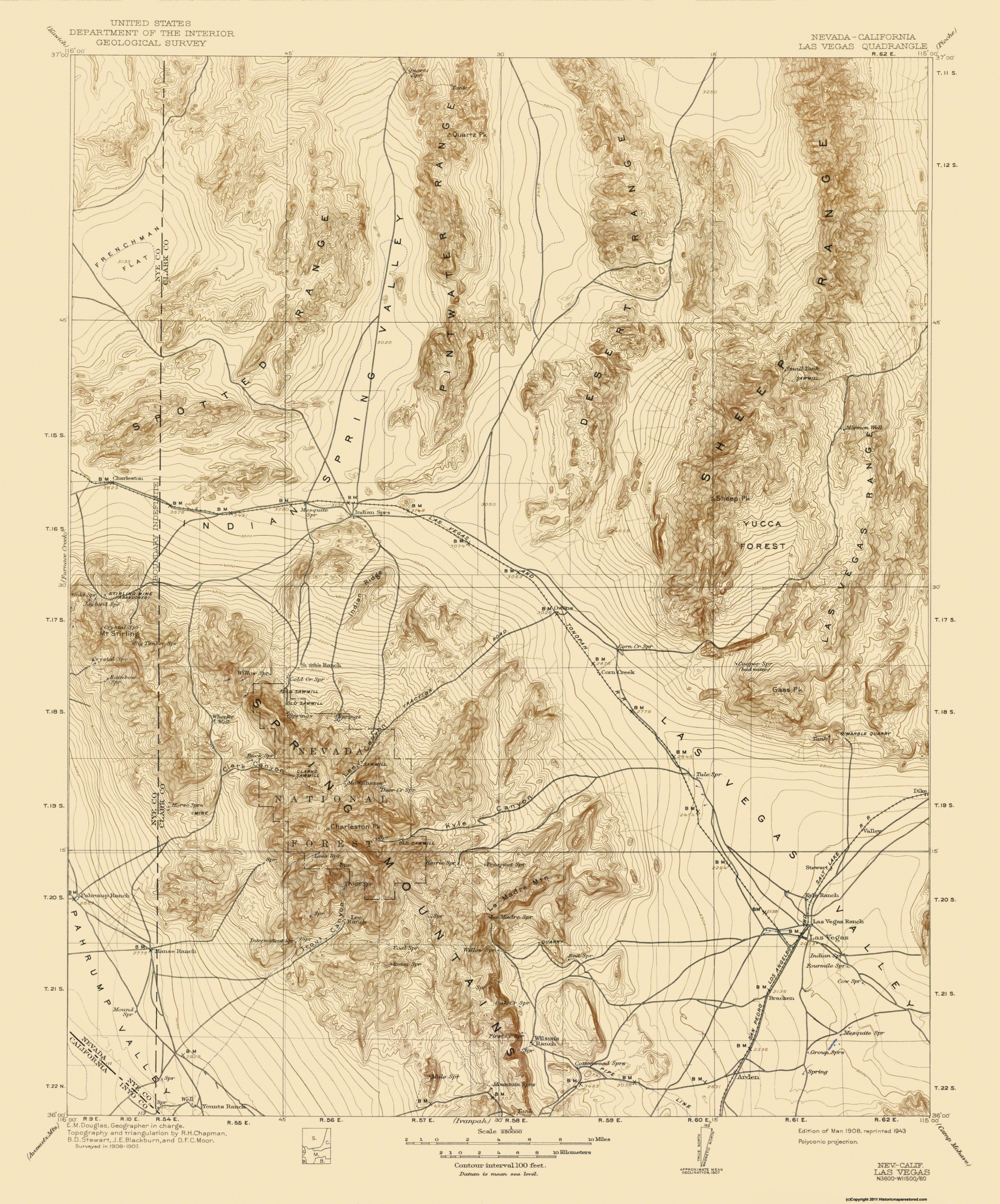 Old Topographical Map - Las Vegas Nevada 1908