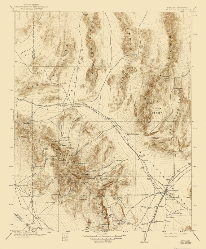 Topographical Map Print - Las Vegas Nevada Quad - USGS 1908 - 17 x 20.44
