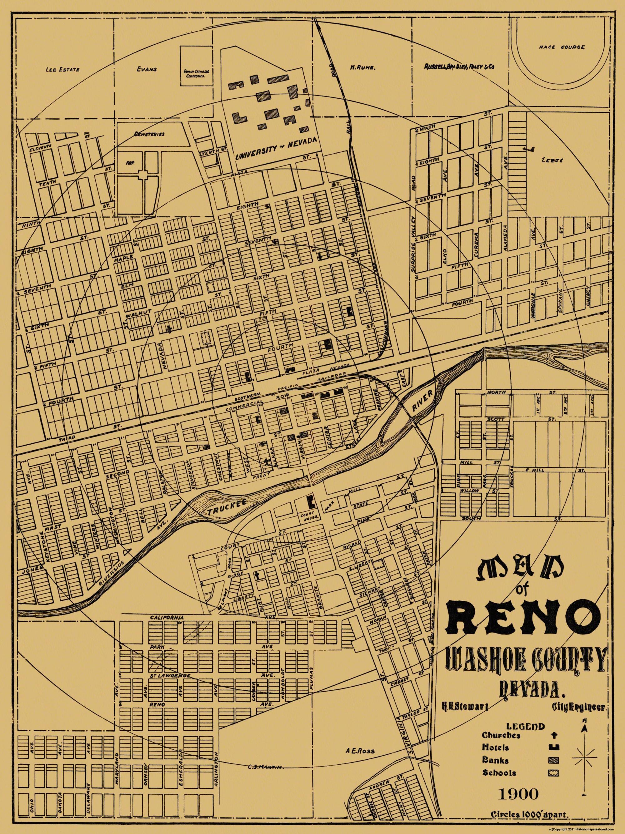 Old City Map Reno Nevada Landowner - Street map of reno nv