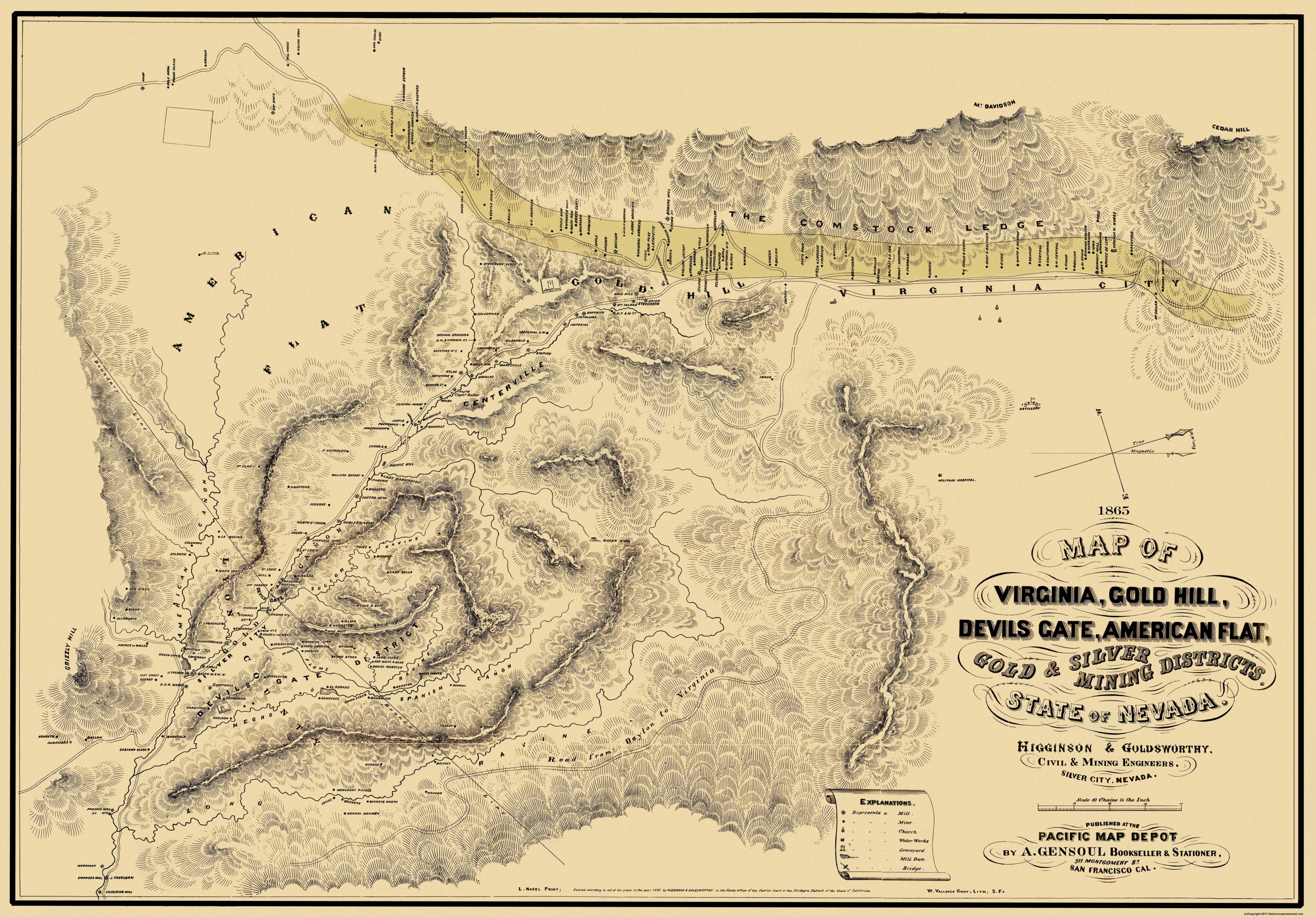 Old Mining Map Gold Silver Mining Districts - Gold distribution map us